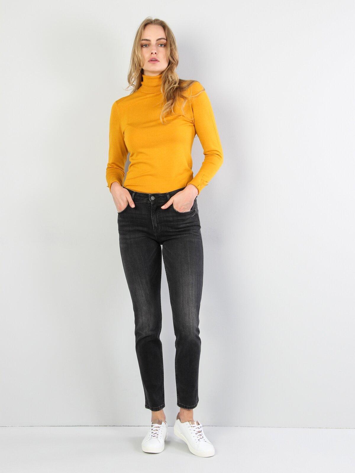 Slim Fit Balikci Kadın Safran Kazak