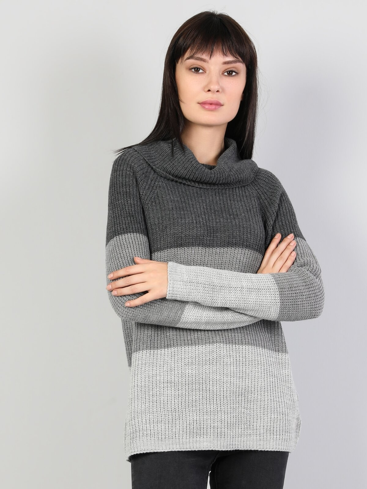Slim Fit Balikci Kadın Gri Melanj Kazak