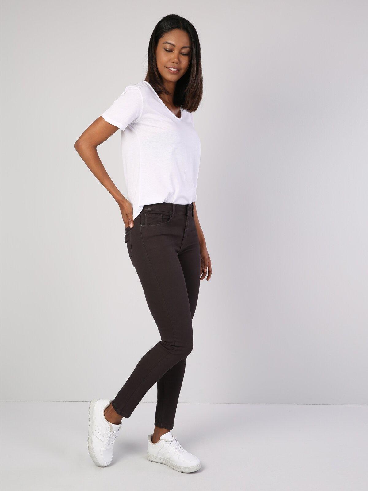 Süper Dar Kesim Gri Kadın Pantolon