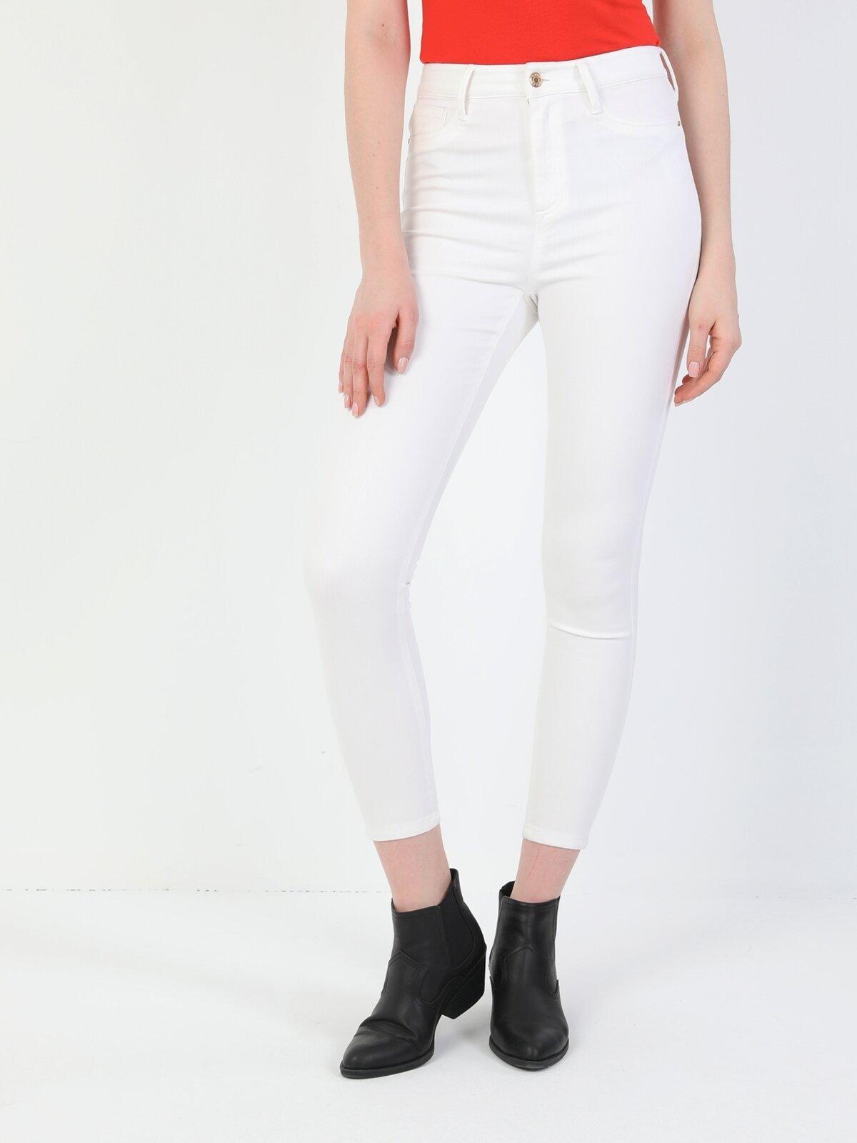Super Slim Fit Yüksek Bel Skinny Leg Kadın Beyaz Pantolon