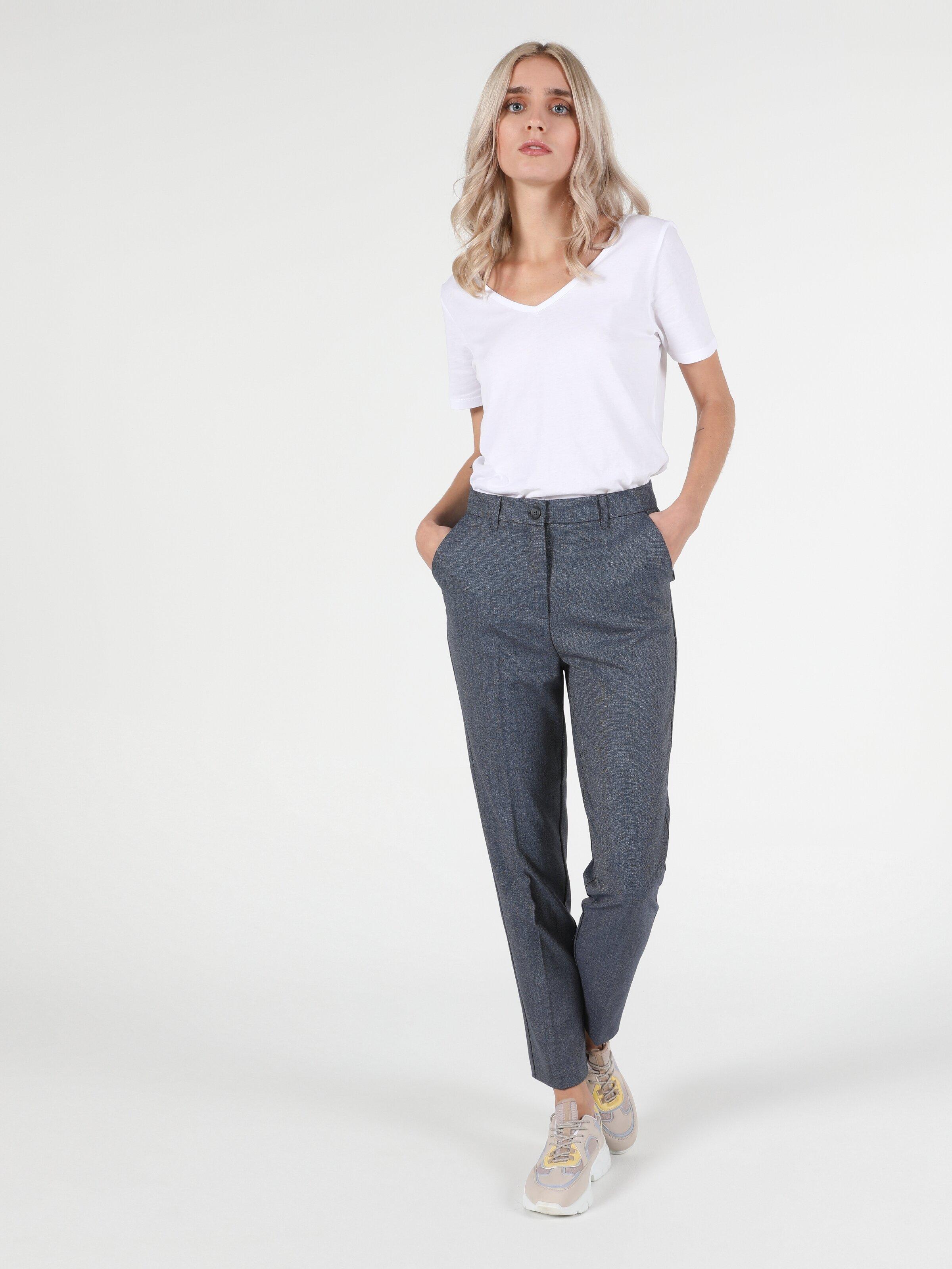 Slim Fit Yüksek Bel Dar Paça Kadın Gri Pantolon