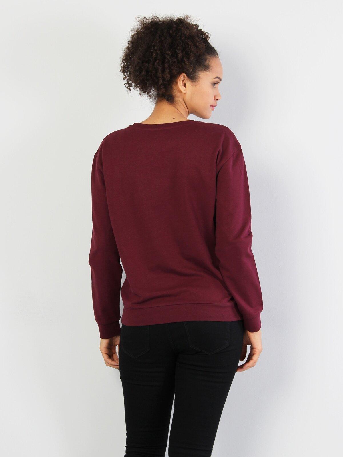 Bordo Baskılı Uzun Kol Sweatshirt