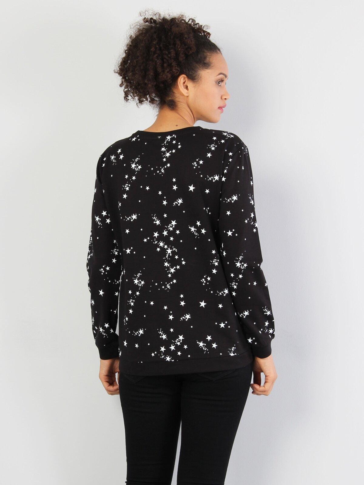 Siyah Baskılı Uzun Kol Sweatshirt