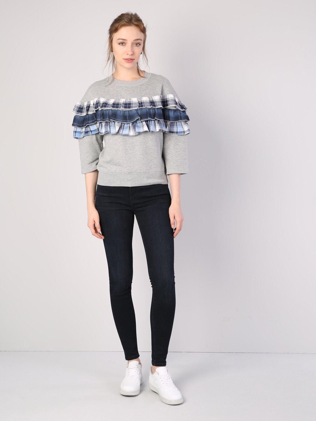 Gri Melanj Püskül Detaylı Baskılı Uzun Kol Sweatshirt