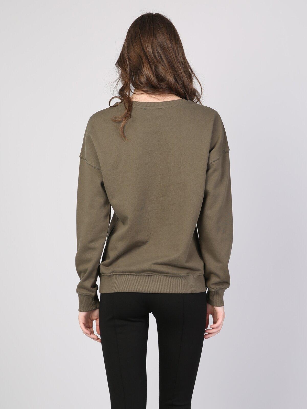 Haki Baskılı Uzun Kol Sweatshirt