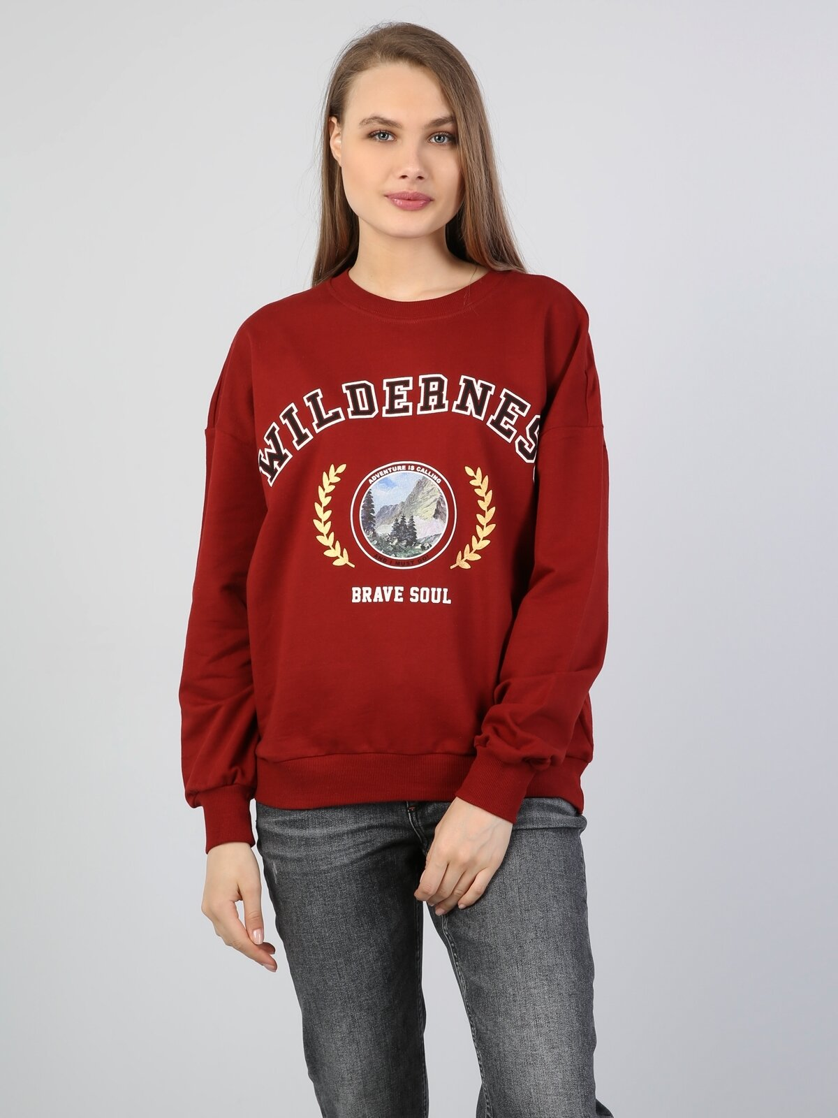 Regular Fit  Kadın Bordo Sweatshirt