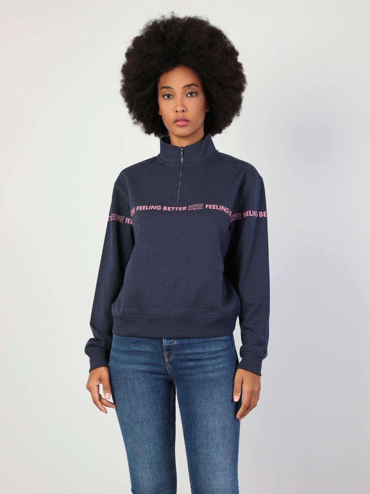 Regular Fit Kadın Lacivert Sweatshirt