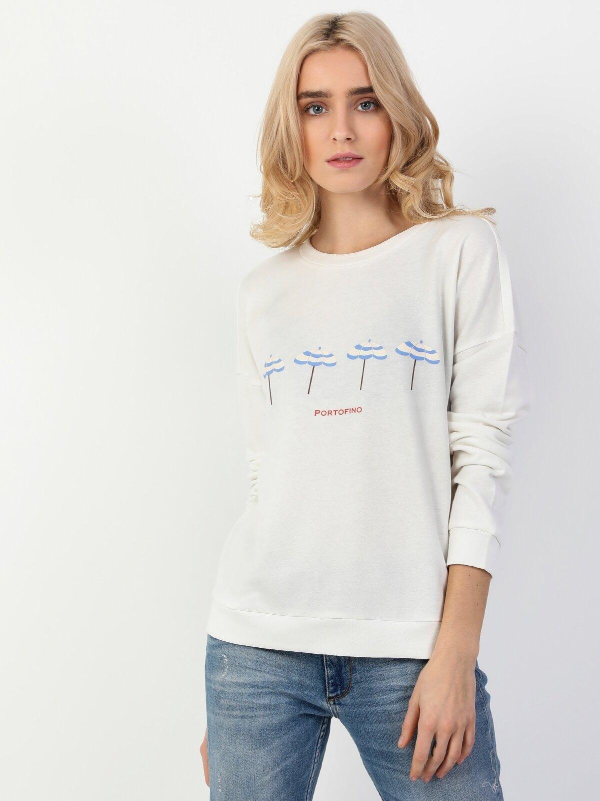 Regular Fit Beyaz Kadın Sweatshirt