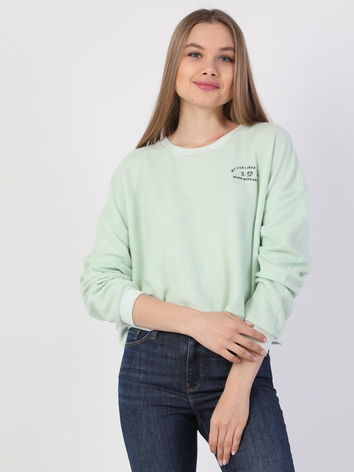 Regular Fit Kadın Yeşil Sweatshirt