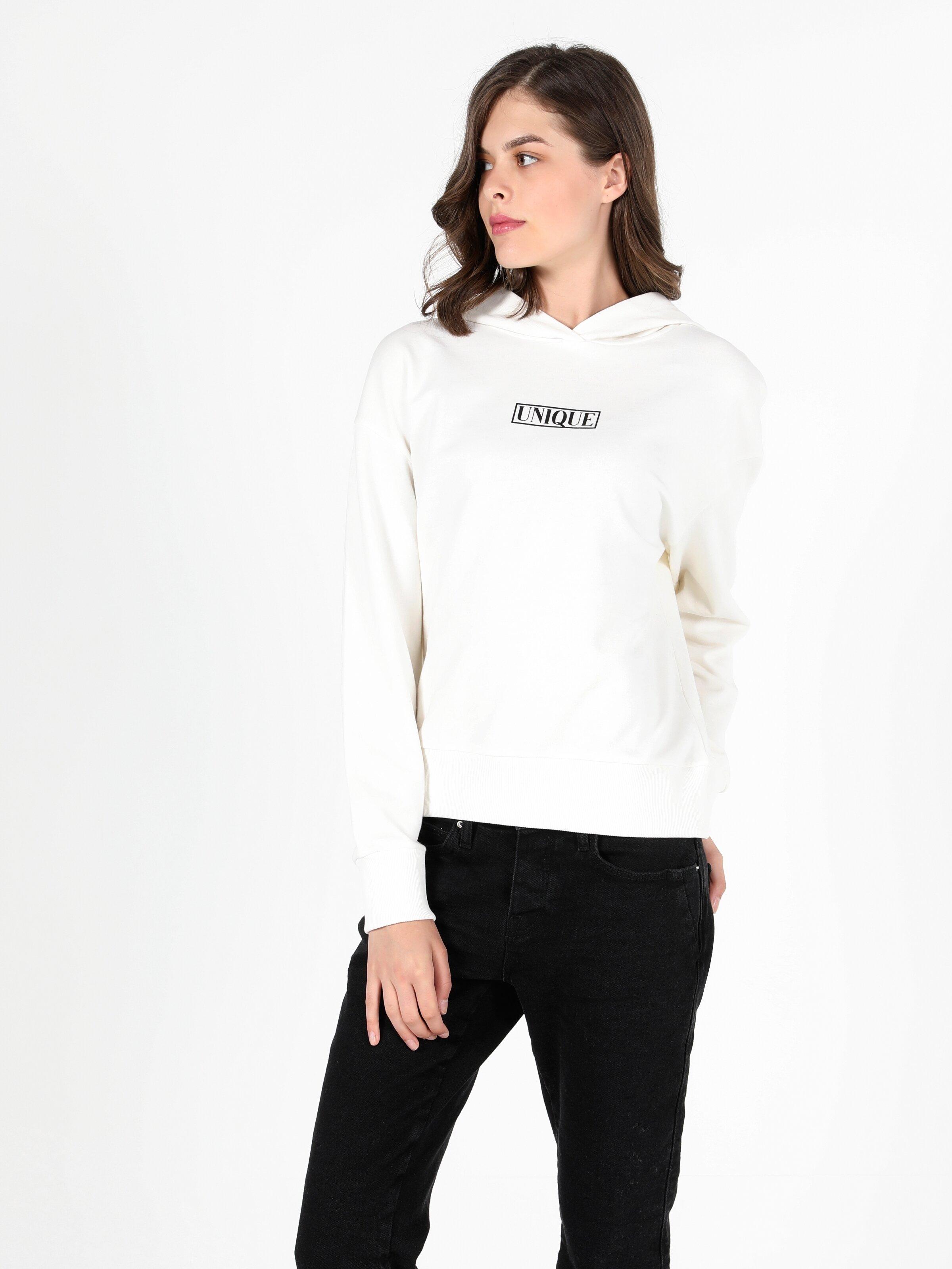Regular Fit  Kadın Beyaz Sweatshirt