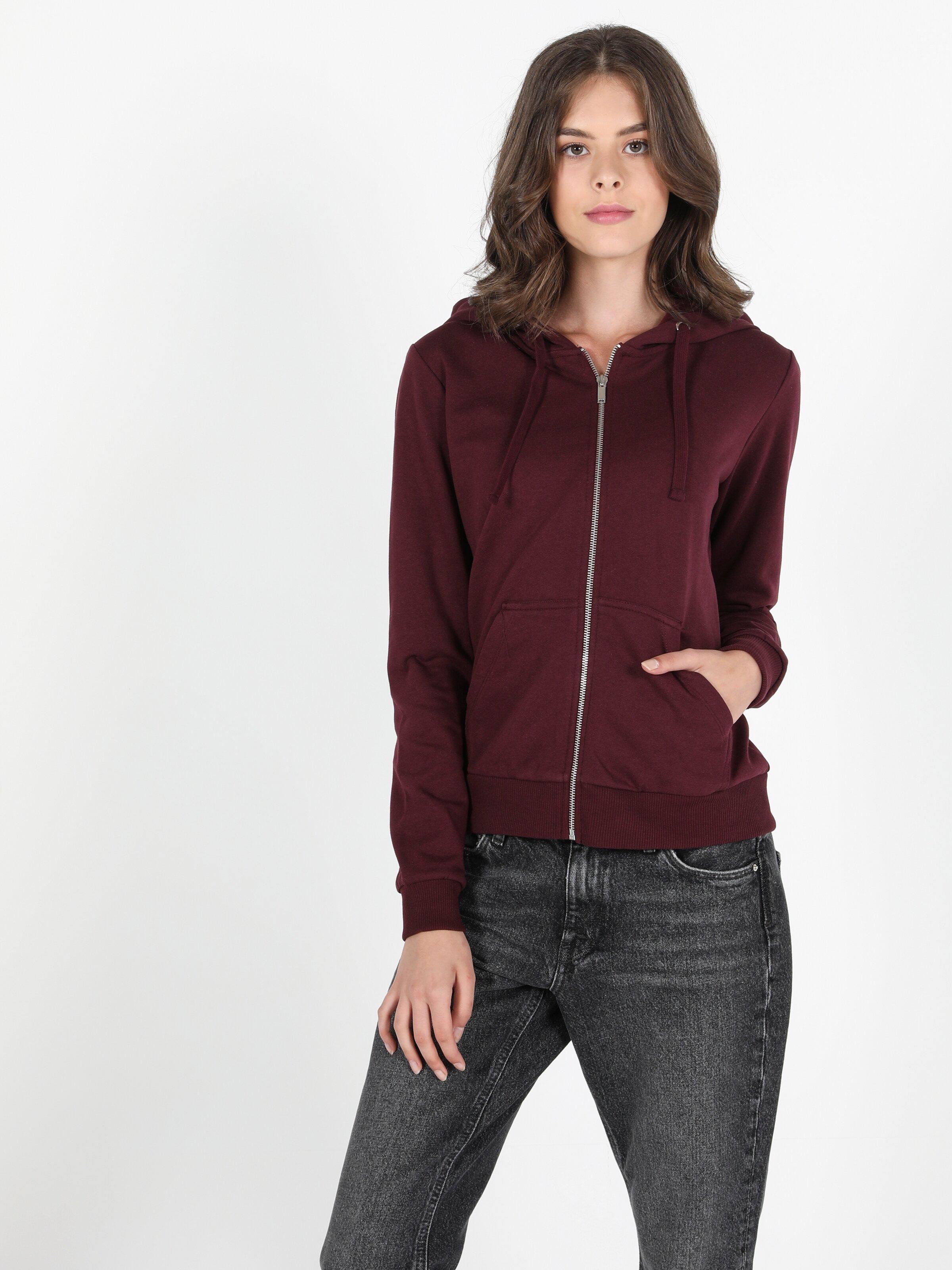 Regular Fit  Kadın Bordo Sweatshirt