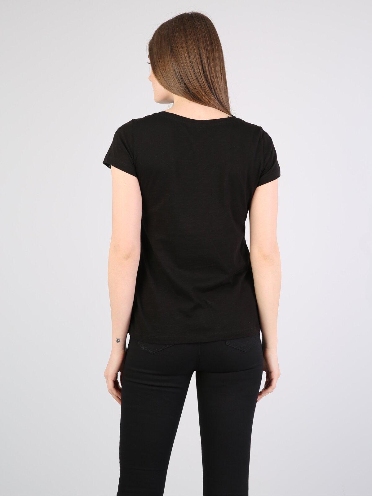Slim Fit Siyah Kadın Kısa Kol Tişört