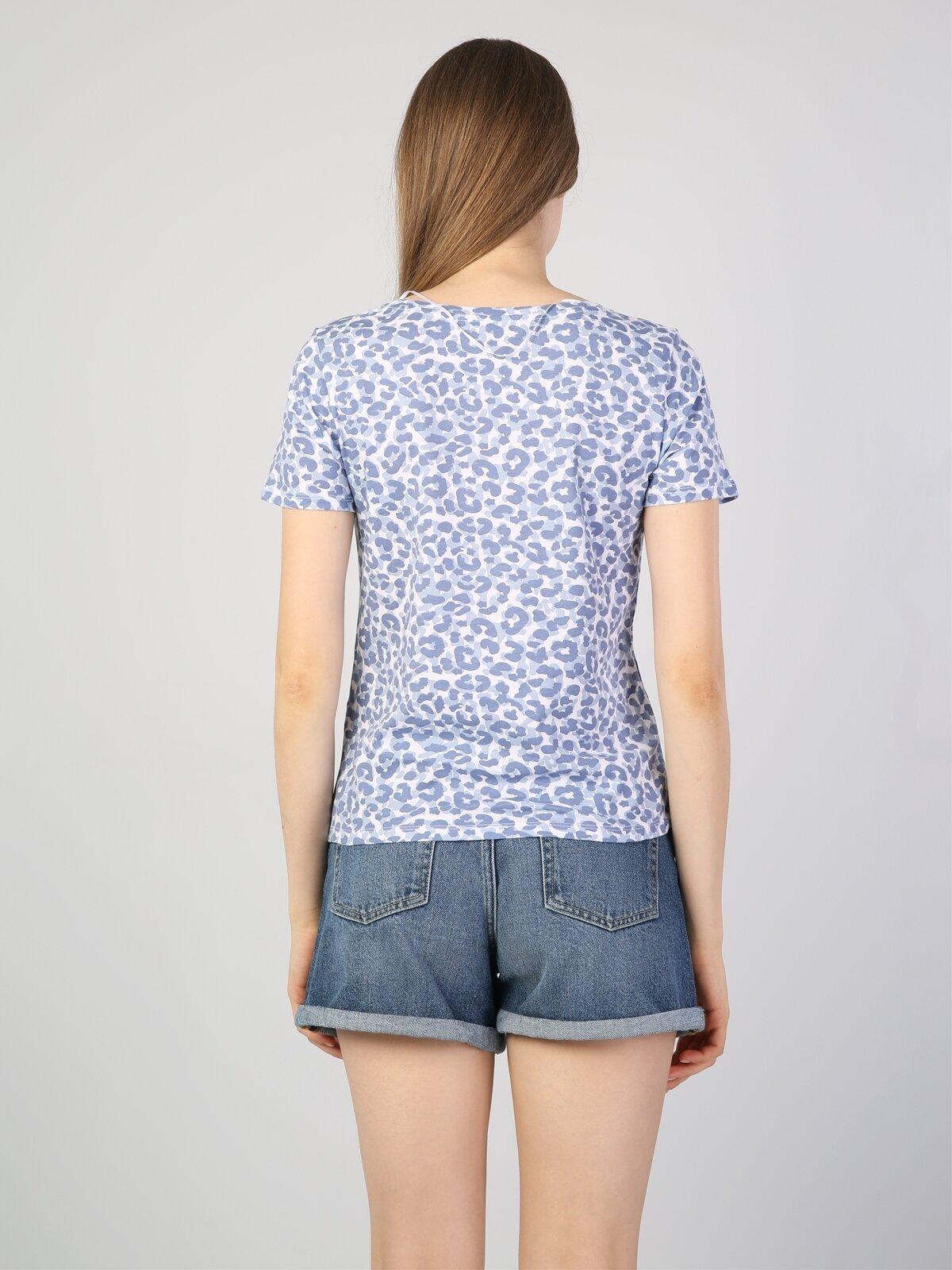 Slim Fit Baskılı Mavi Kadın Kısa Kol Tişört
