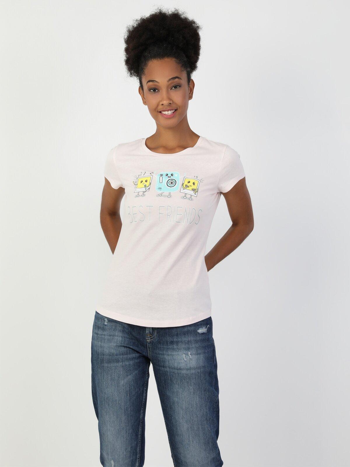 Slim Fit Bisiklet Yaka Kadın Pembe Kısa Kol Tişört