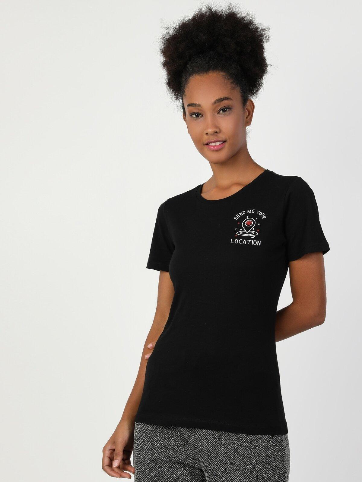 Slim Fit Bisiklet Yaka Örme Kadın Siyah Kısa Kol Tişört