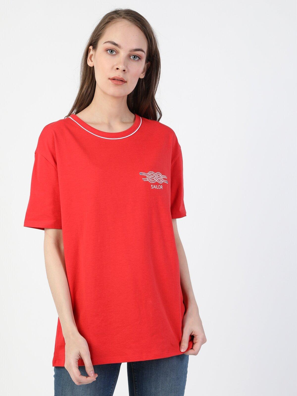 Comfort Fit Bisiklet Yaka Örme Kadın Kırmızı Kısa Kol Tişört