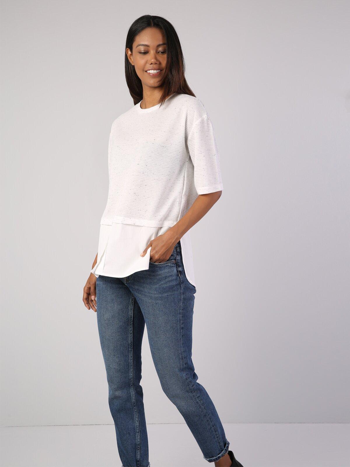 Normal Kesim Bisiklet Yaka Beyaz Kadın Uzun Kol Tişört