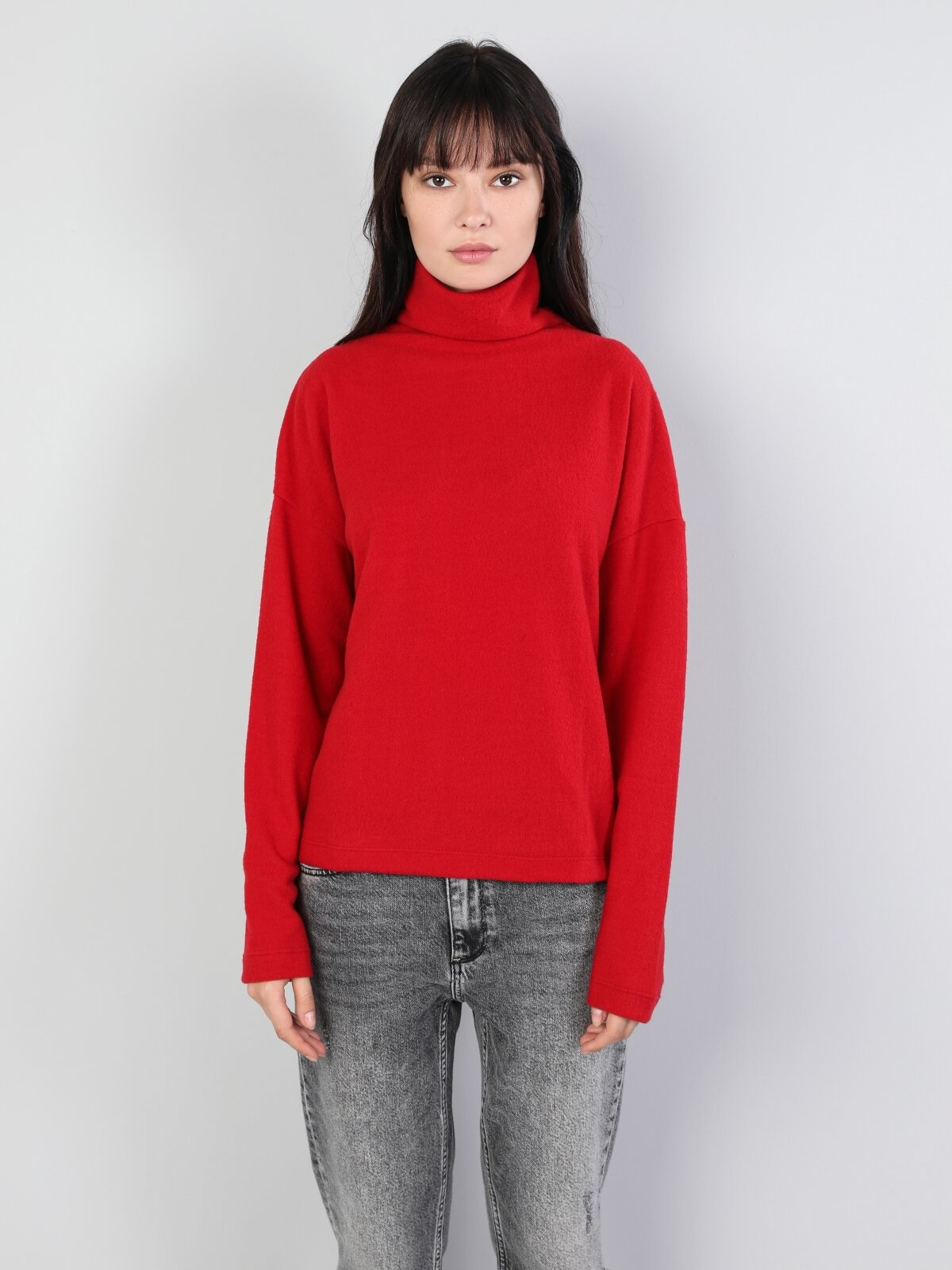 Normal Kesim Balıkçı Yaka Kırmızı Kadın Uzun Kol Tişört
