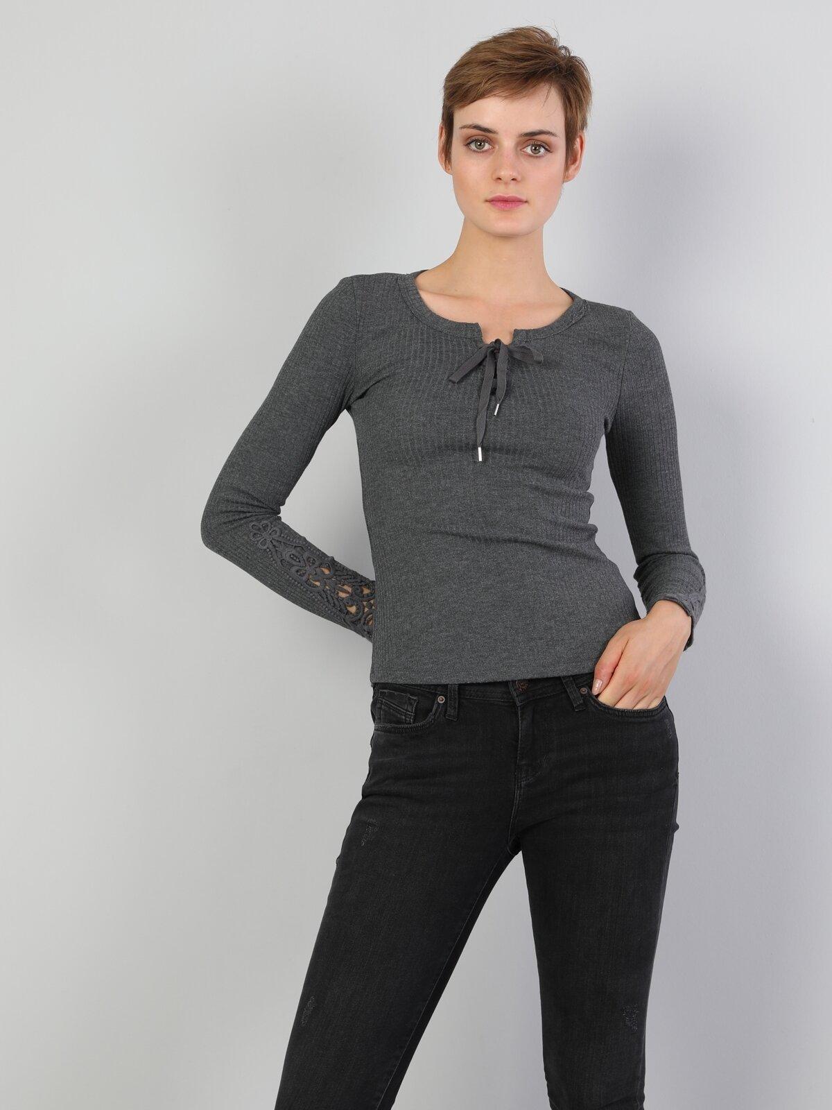 Slim Fit Derin Yuvarlak Yaka Kadın Antrasit Tshirt U.Kol