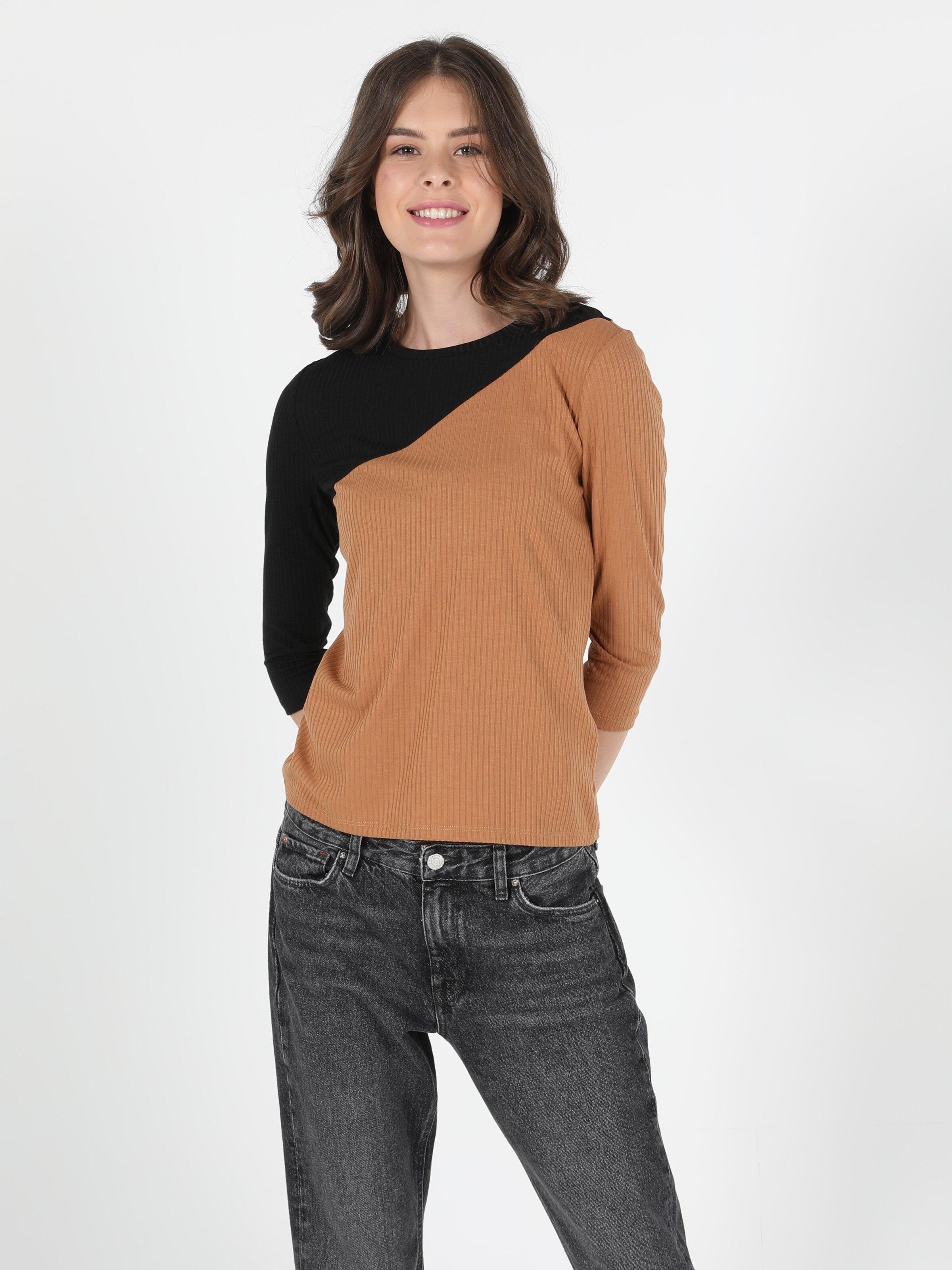 Slim Fit Bisiklet Yaka Kadın Camel Tshirt U.Kol