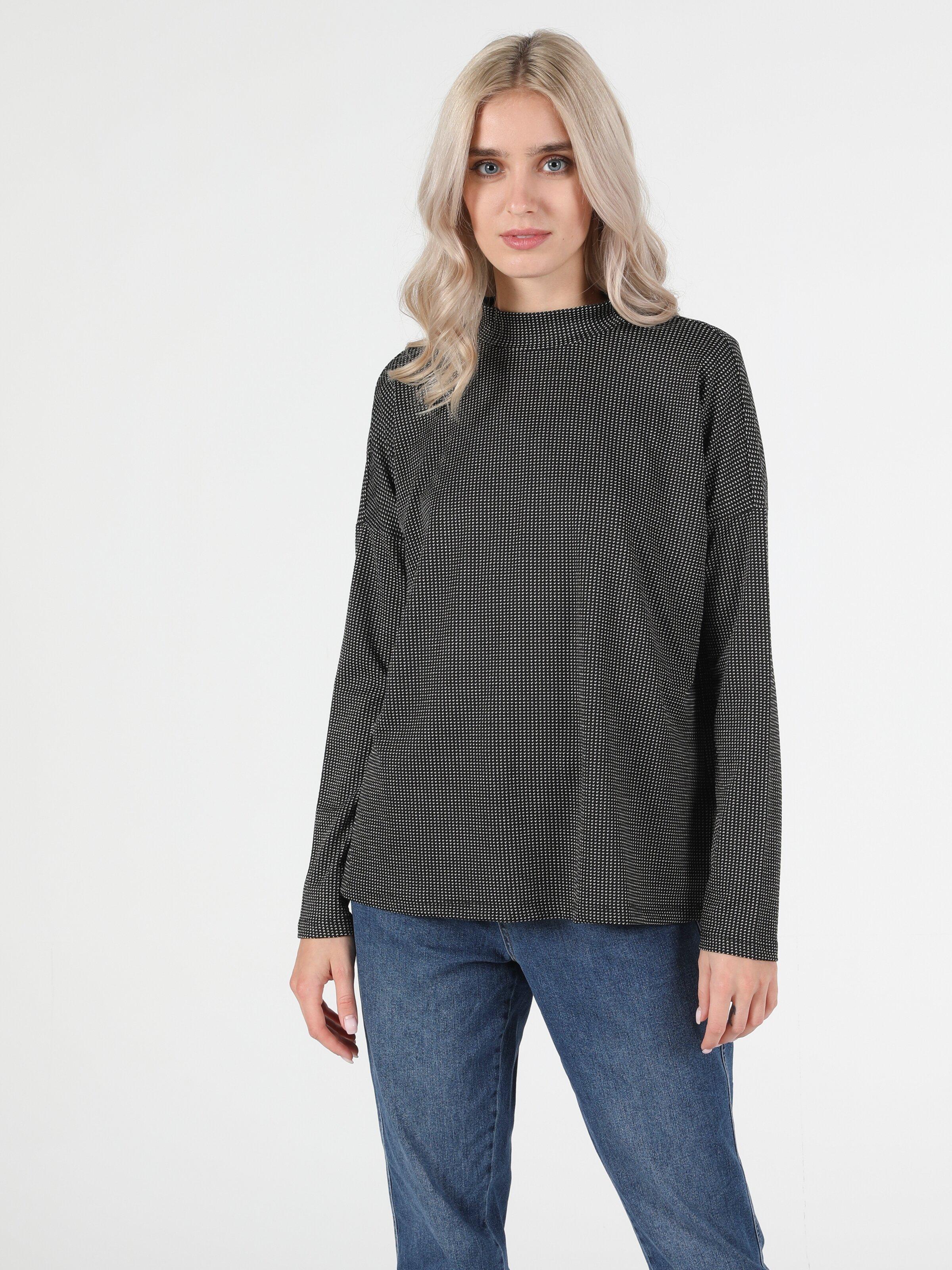 Regular Fit Balikci Kadın Siyah Tshirt U.Kol