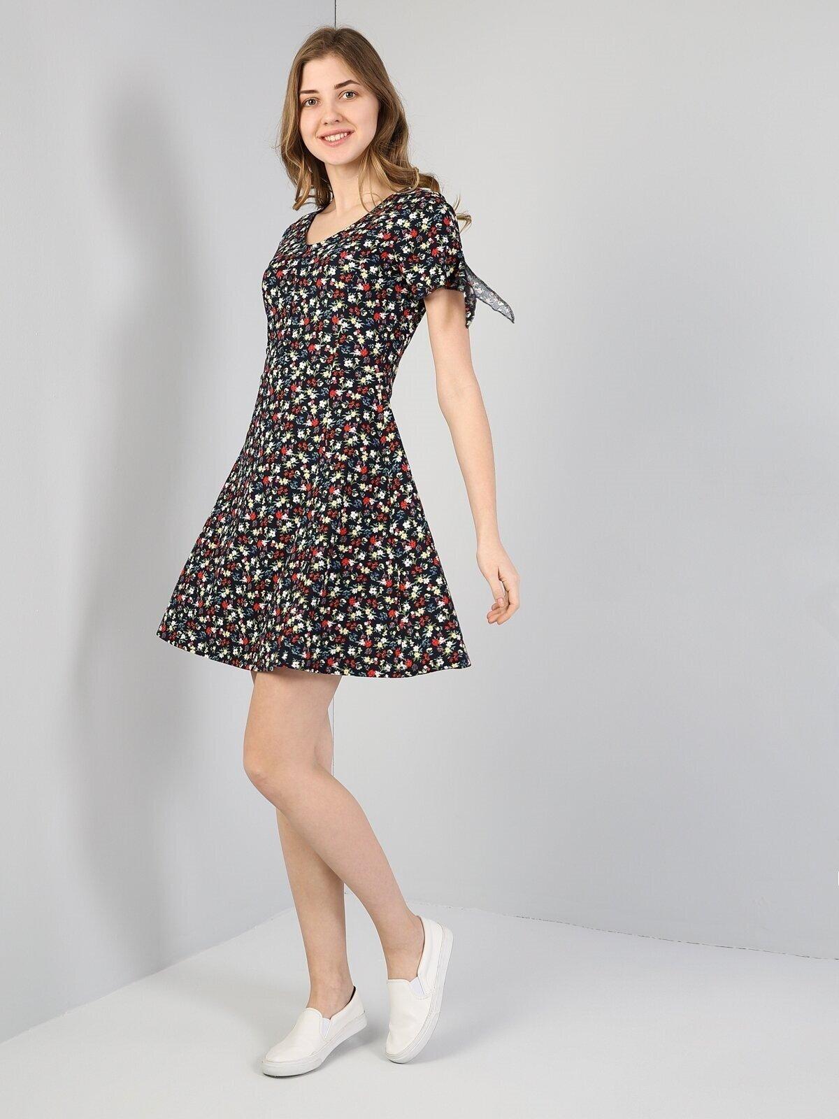 Normal Kesim Çiçek Desenli Lacivert Kadın Elbise