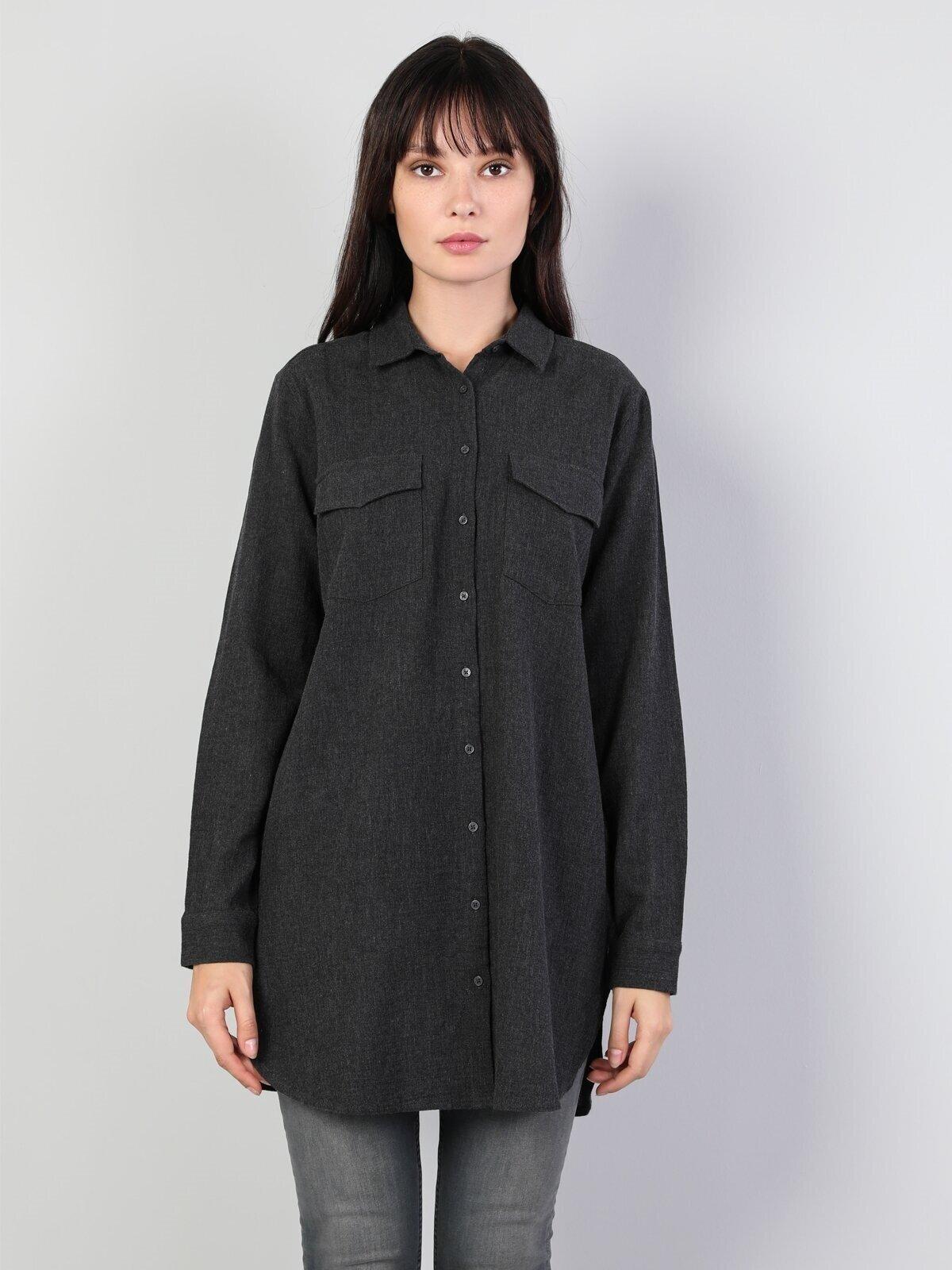 Regular Fit Shirt Neck Kadın Antrasit Uzun Kol Gömlek
