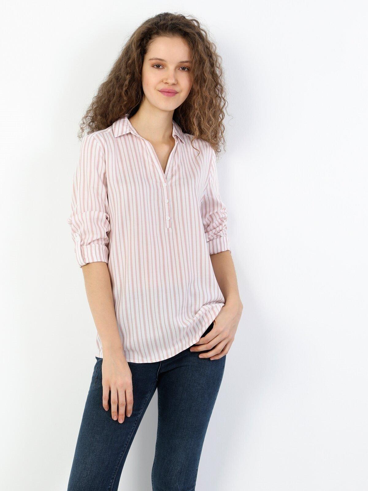 Regular Fit Shirt Neck Kadın Pembe Uzun Kol Bluz