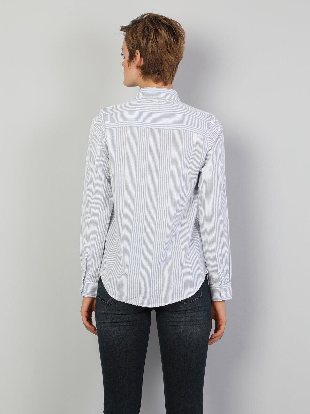 Slim Fit Shirt Neck Kadın Mavi Uzun Kol Gömlek