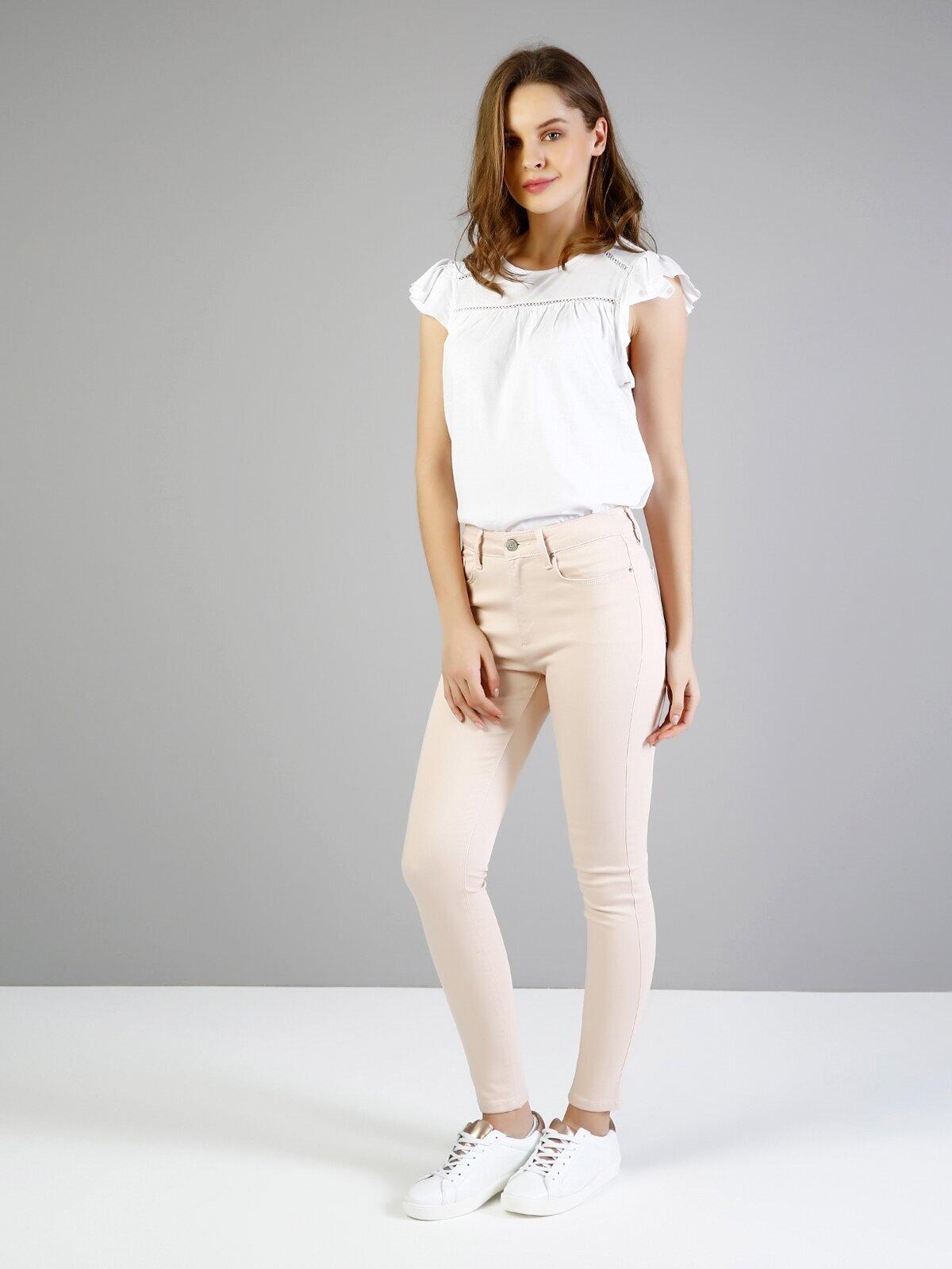 Süper Slim Fit Yüksel Bel Dar Paça Pembe Kadın Pantolon