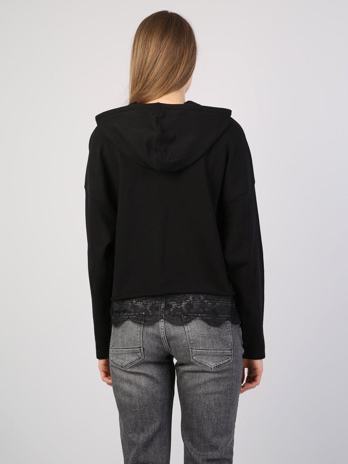Comfort Fit  Kadın Siyah Sweatshirt