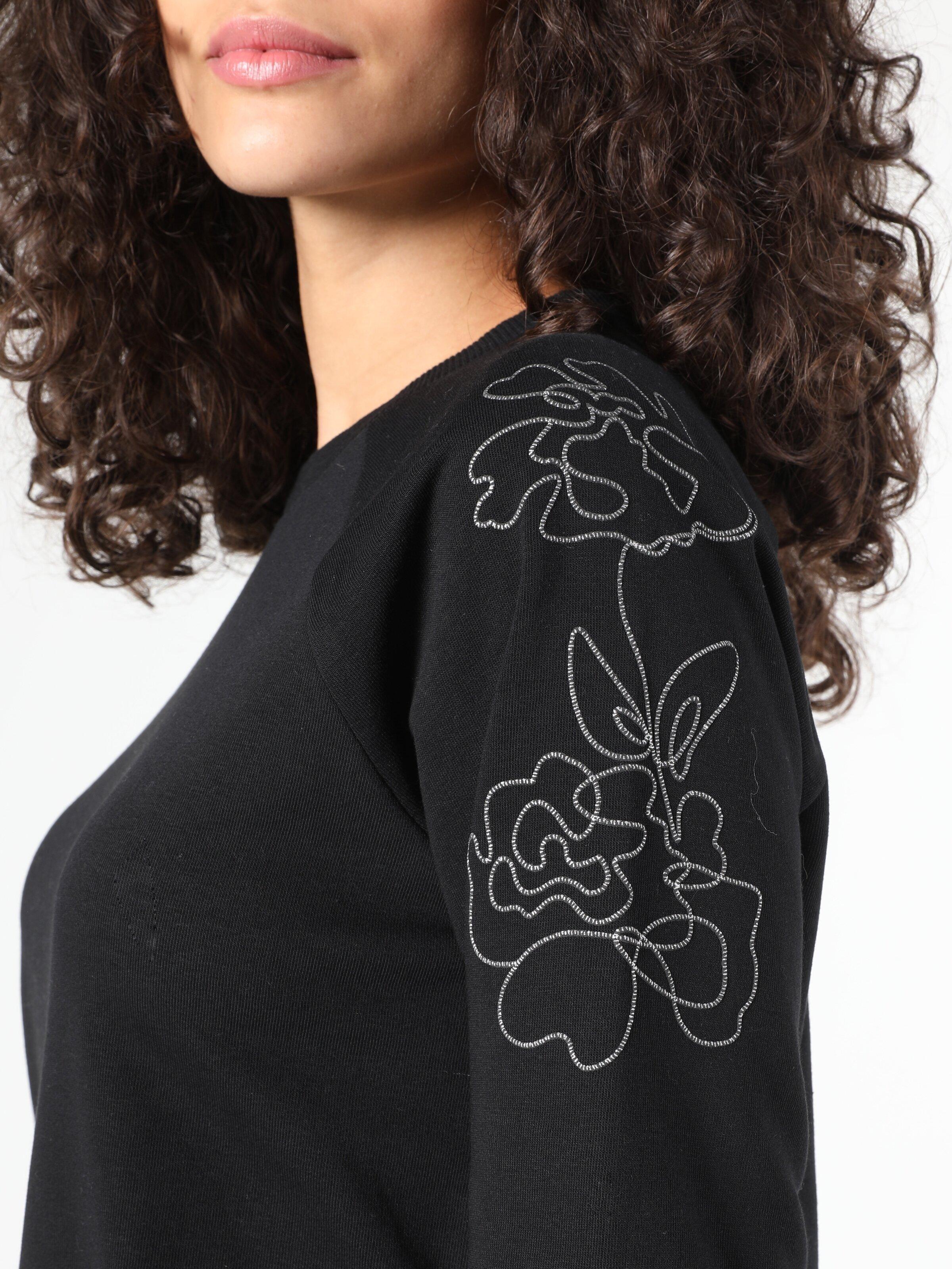 Regular Fit Omuzda Örme Detaylı  Siyah Kadın Sweatshirt