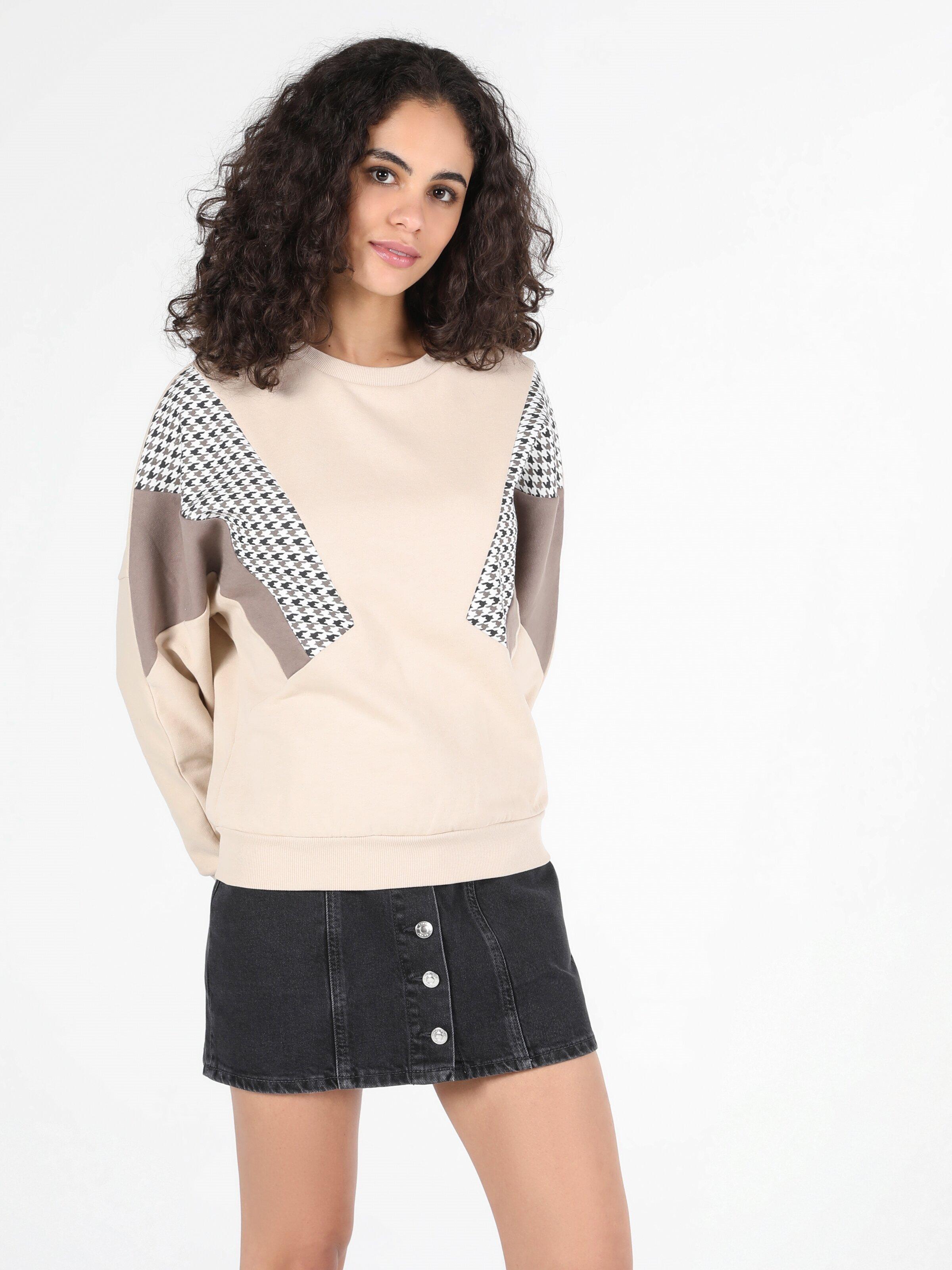 Regular Fit  Kadın Bej Sweatshirt