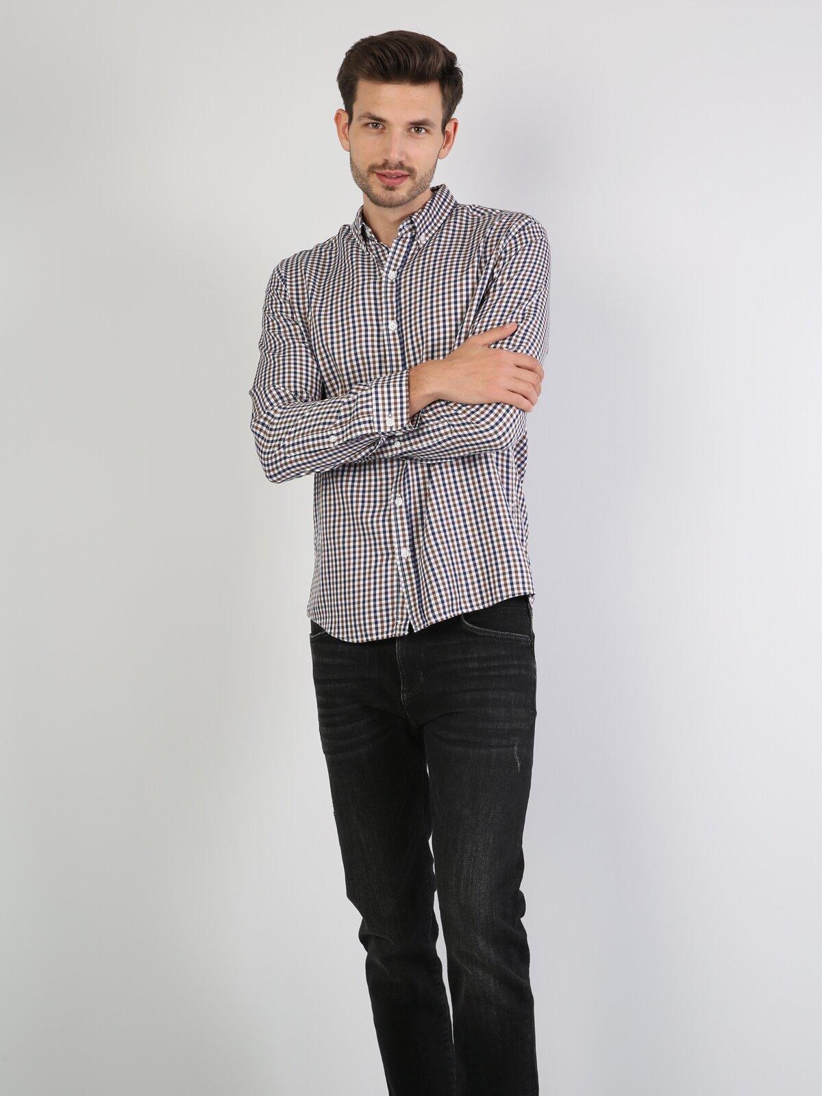Kahverengi Uzun Kol Gömlek