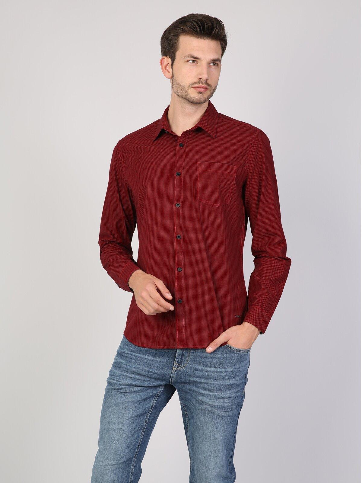 Dar Kesim Kırmızı Uzun Kol Gömlek