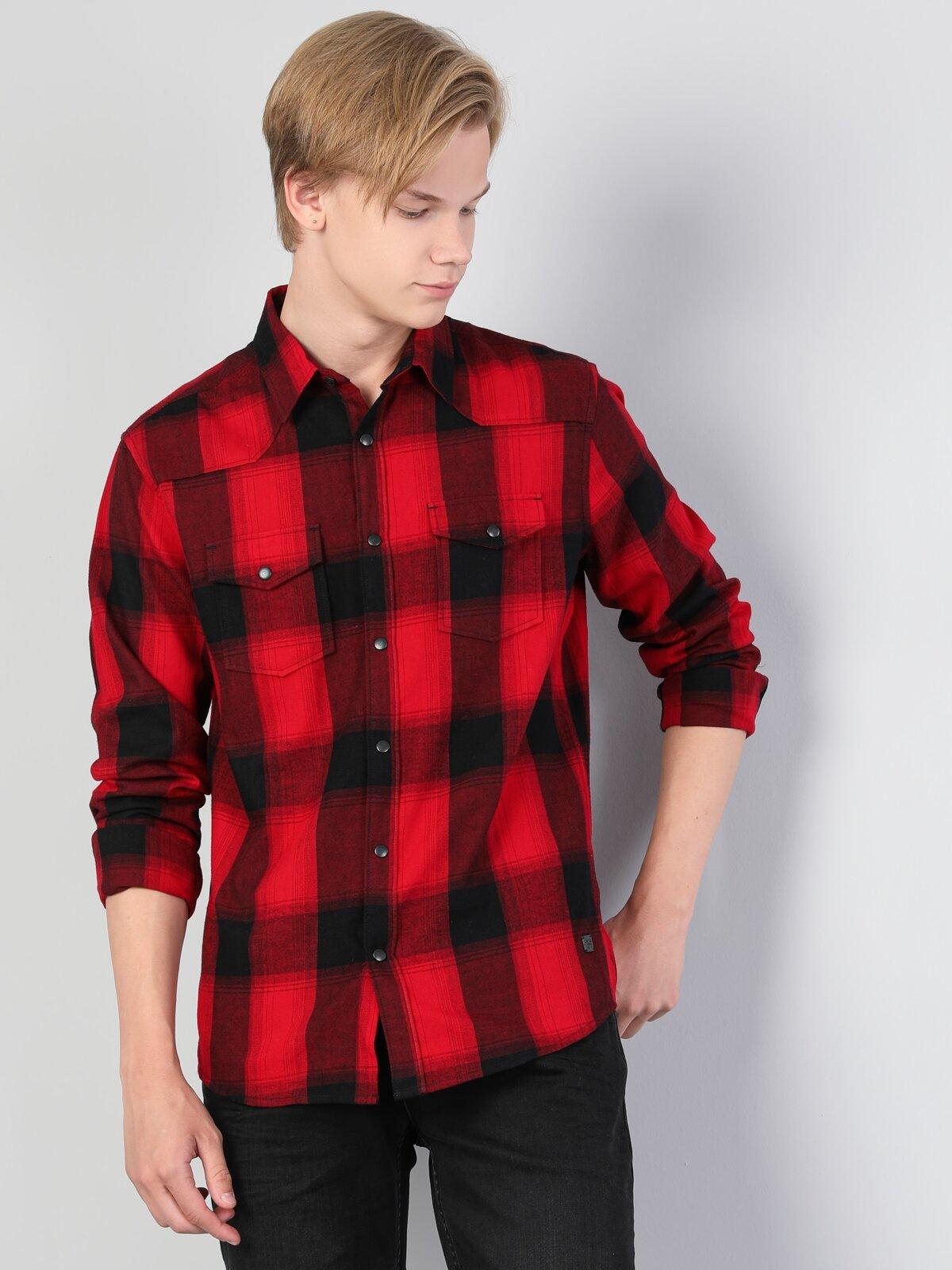 Dar Kesim Kırmızı Erkek Uzun Kol Gömlek