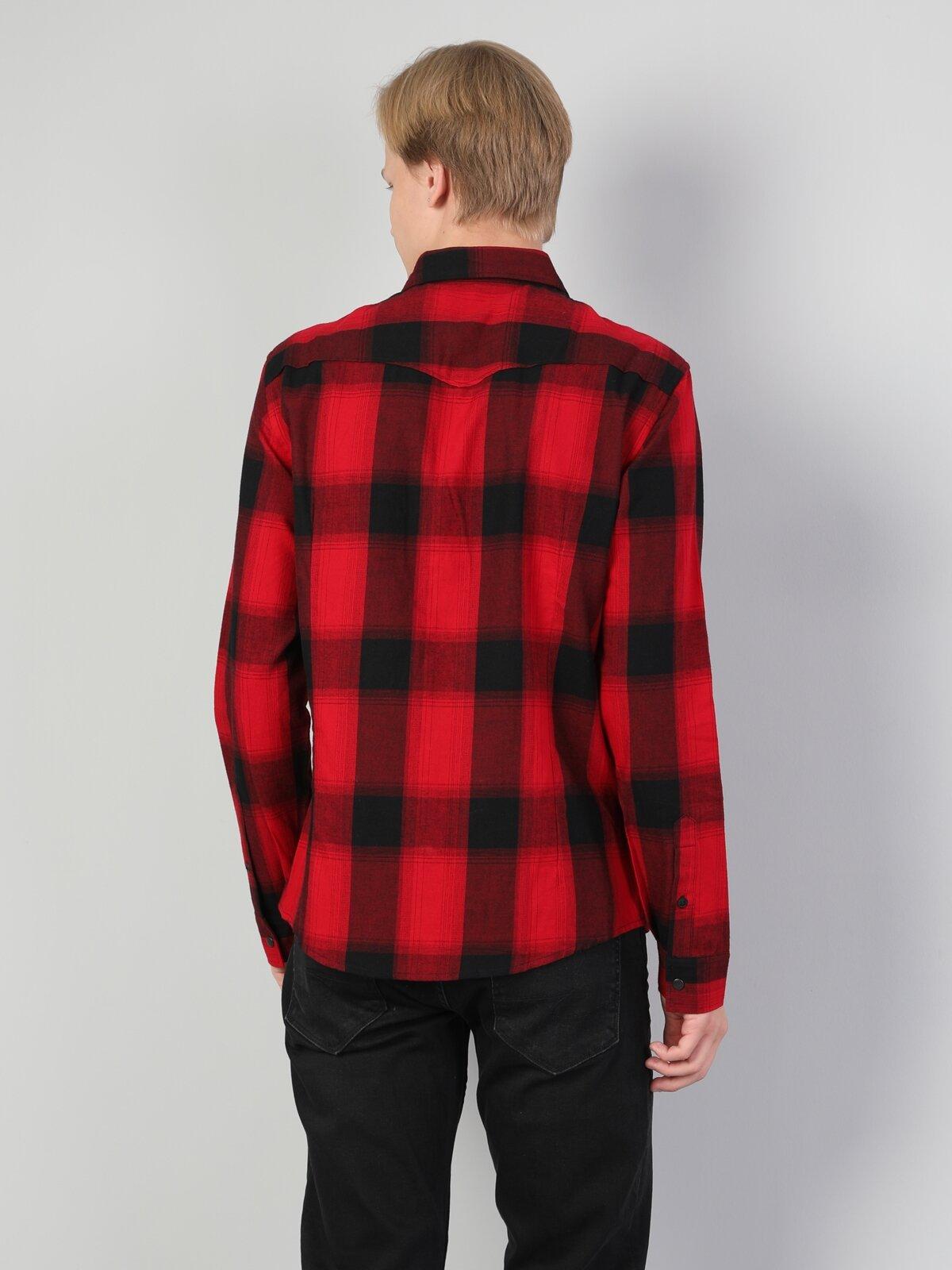 Slim Fit Shirt Neck Erkek Kırmızı Uzun Kol Gömlek