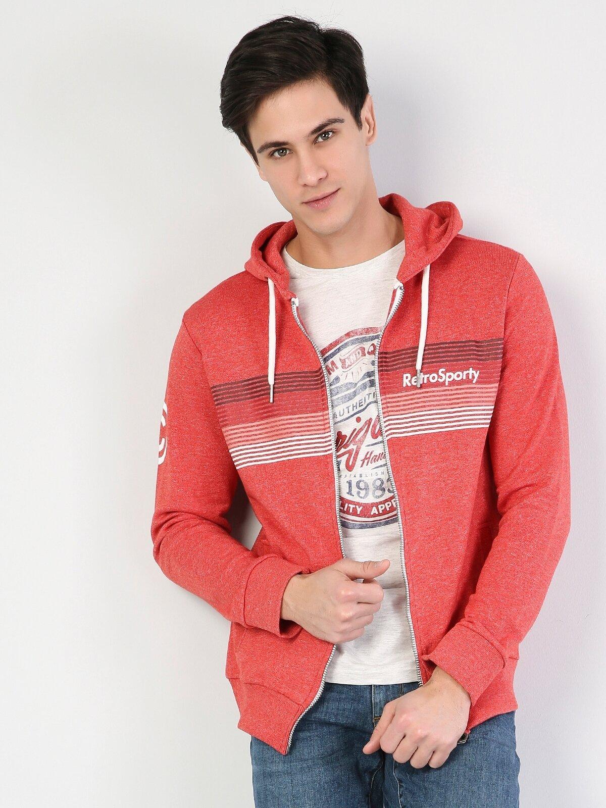 Kırmızı Erkek Sweatshirt