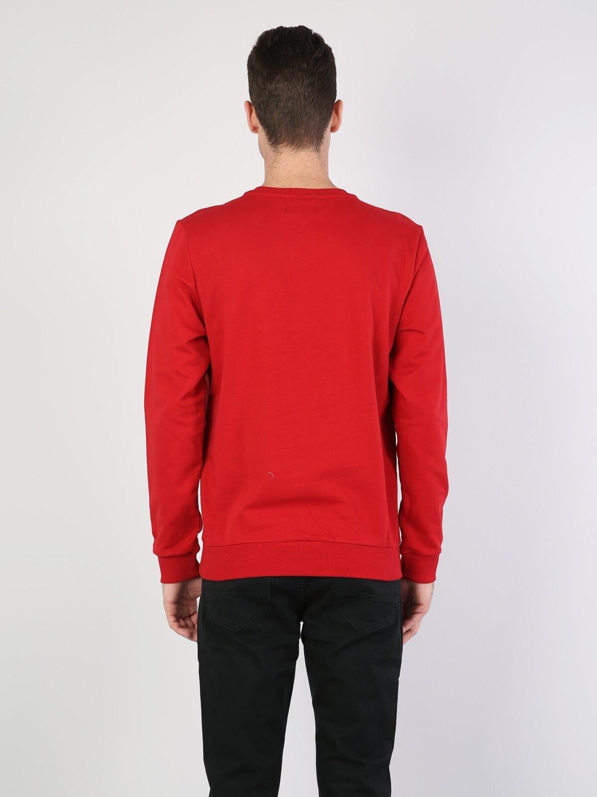 Normal Kesim Bisiklet Yaka Baskılı Kırmızı Erkek Uzun Kol Tişört