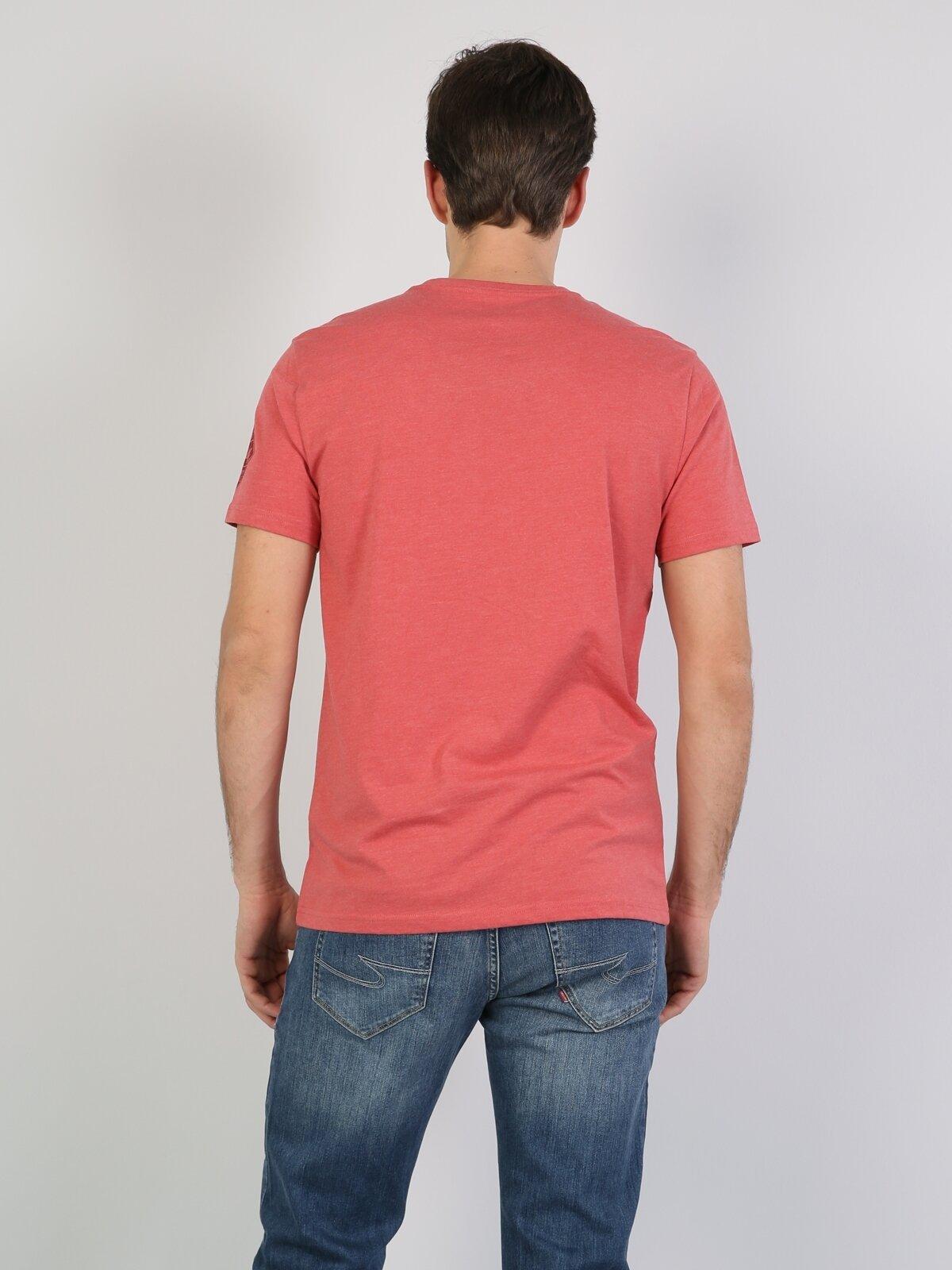 Normal Kesim Bisiklet Yaka Baskılı Kırmızı Erkek Kısa Kol Tişört