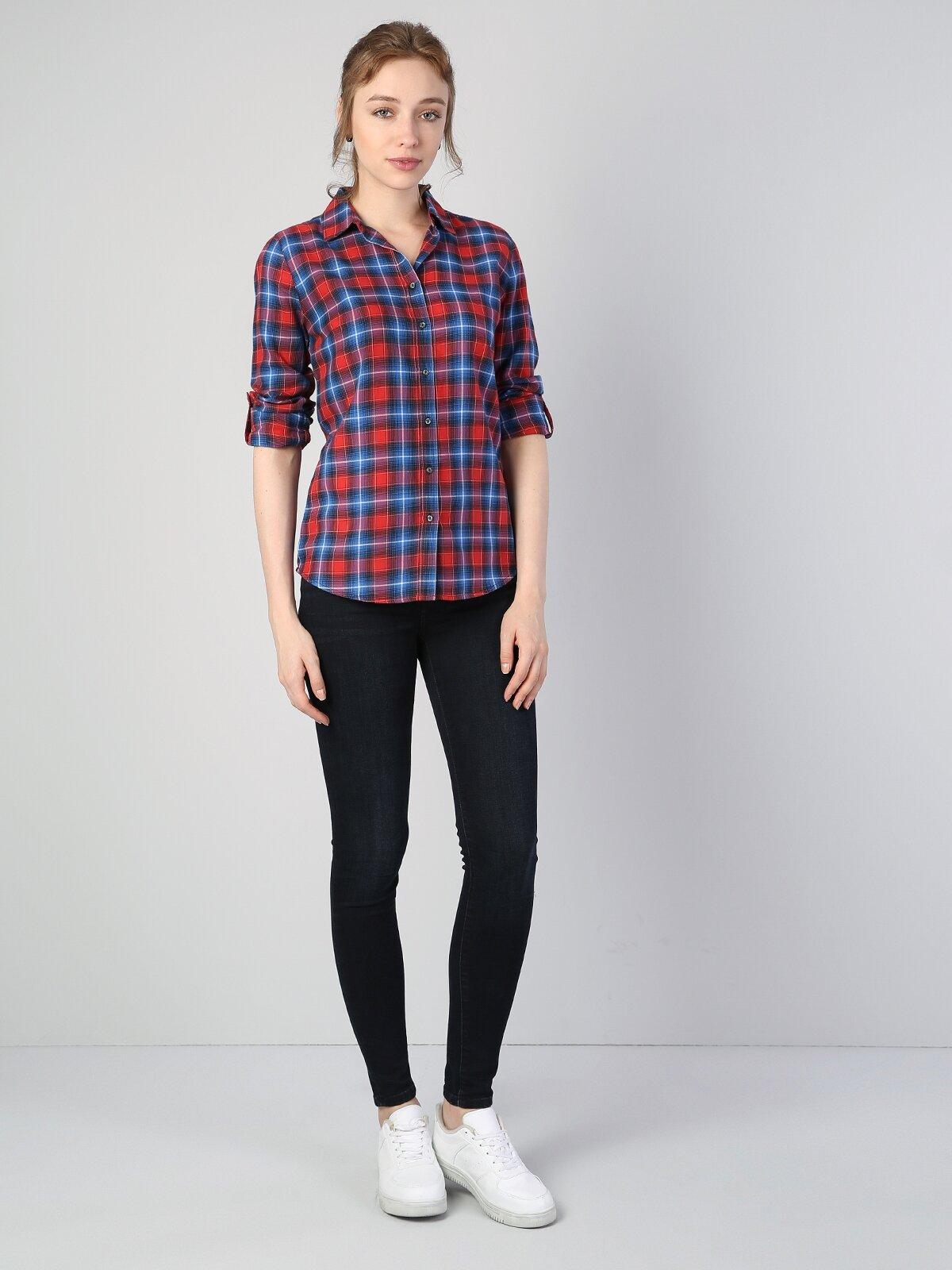 Super Slim Fit Kadın Kırmızı Uzun Kol Gömlek