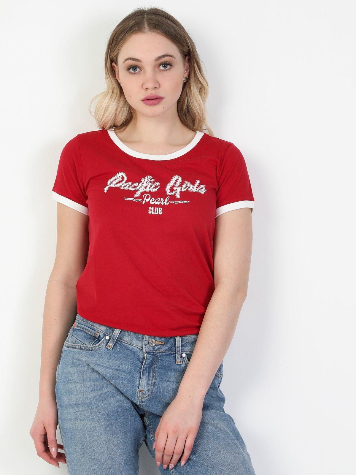 Slim Fit Kırmızı Kadın Kisa Kol Tişört
