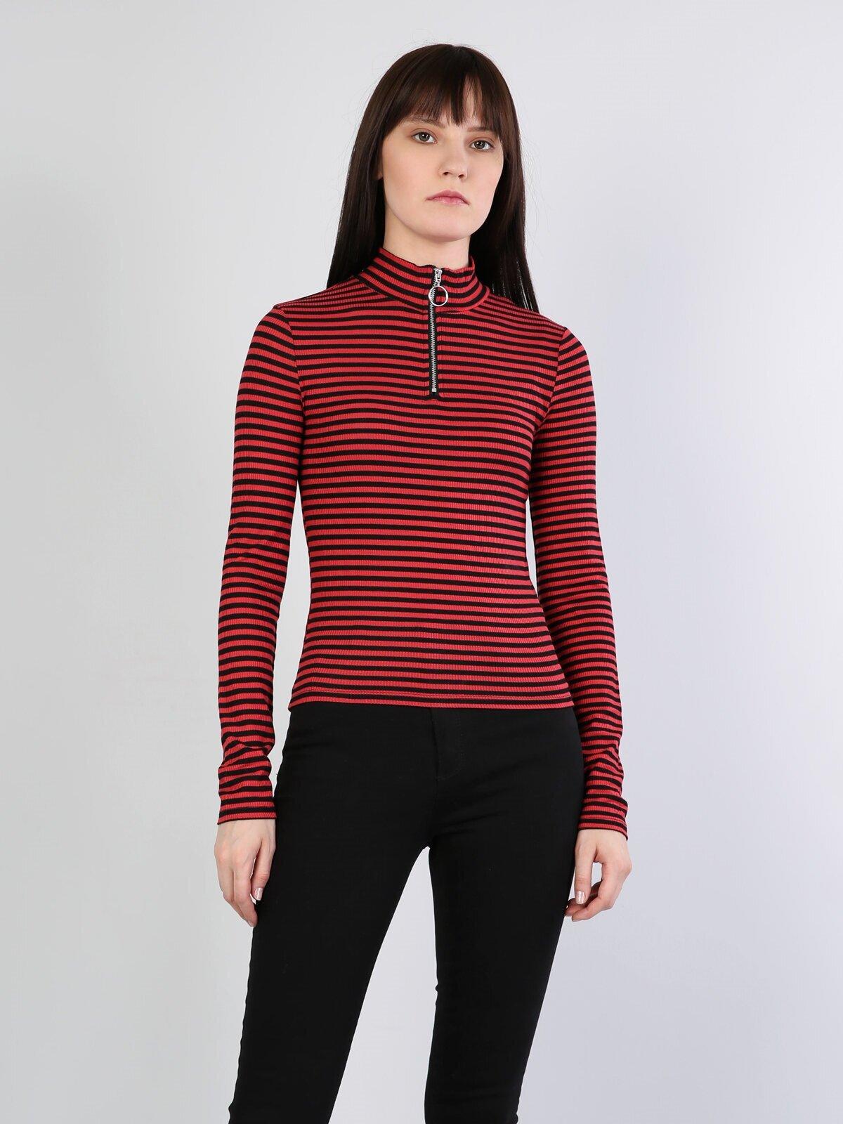 Slim Fit Hakim Kadın Kırmızı Tshirt U.Kol