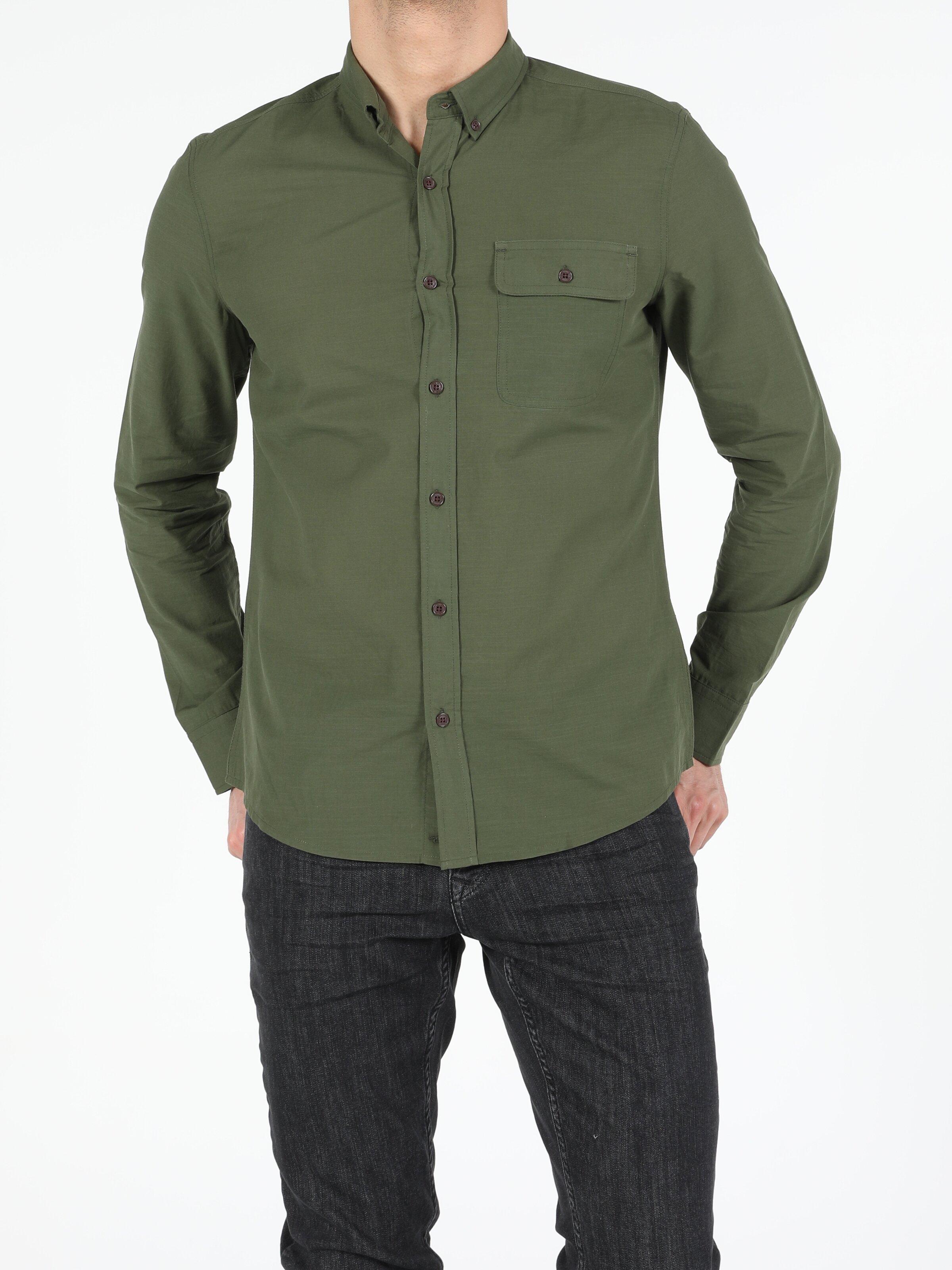 Koyu Haki Slim Fit Shirt Neck  Erkek Uzun Kol Gömlek