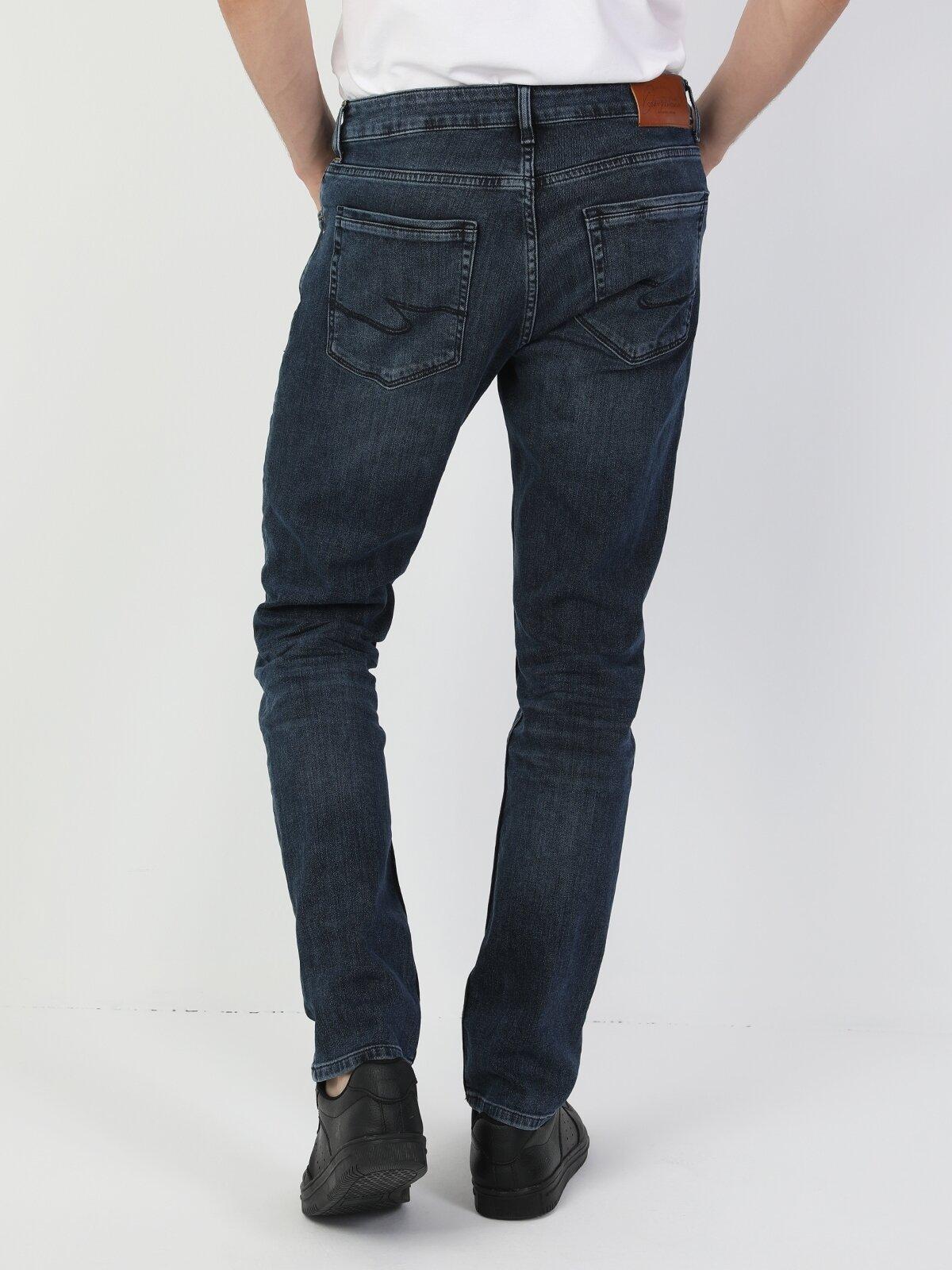 44 Karl Normal Kesim Düşük Bel Düz Paça Erkek Mavi  Erkek Jean Pantolon