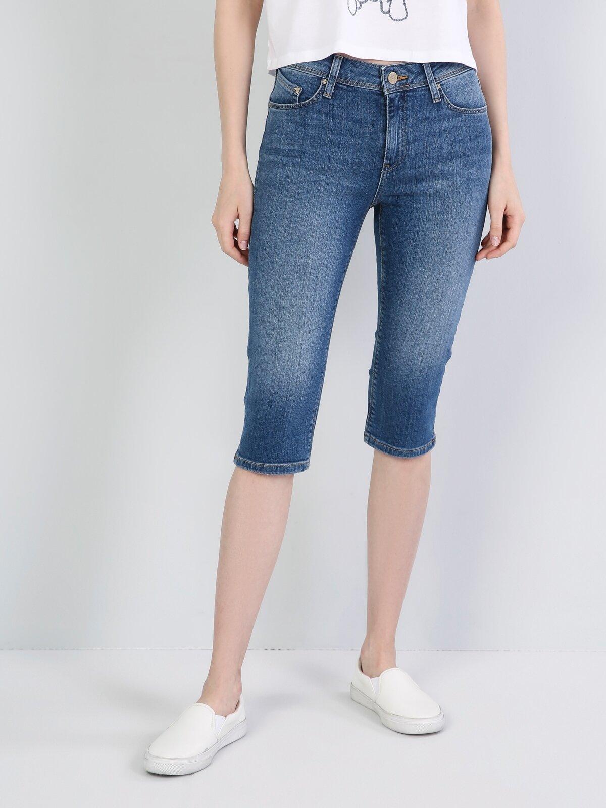 Super Slim Fit Kadın Koyu Mavi Şort