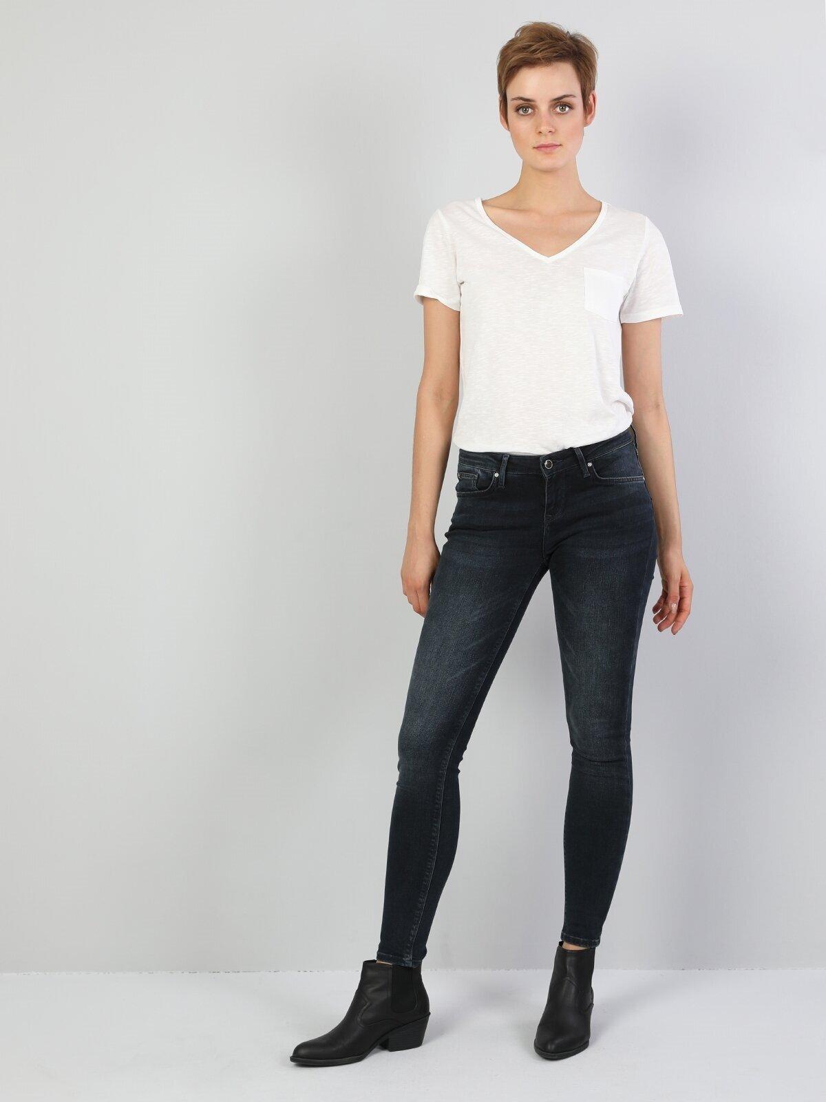 757 Sally Süper Düşük Bel Dar Paça Super Slim Fit Koyu Mavi Kadın Jean Pantolon