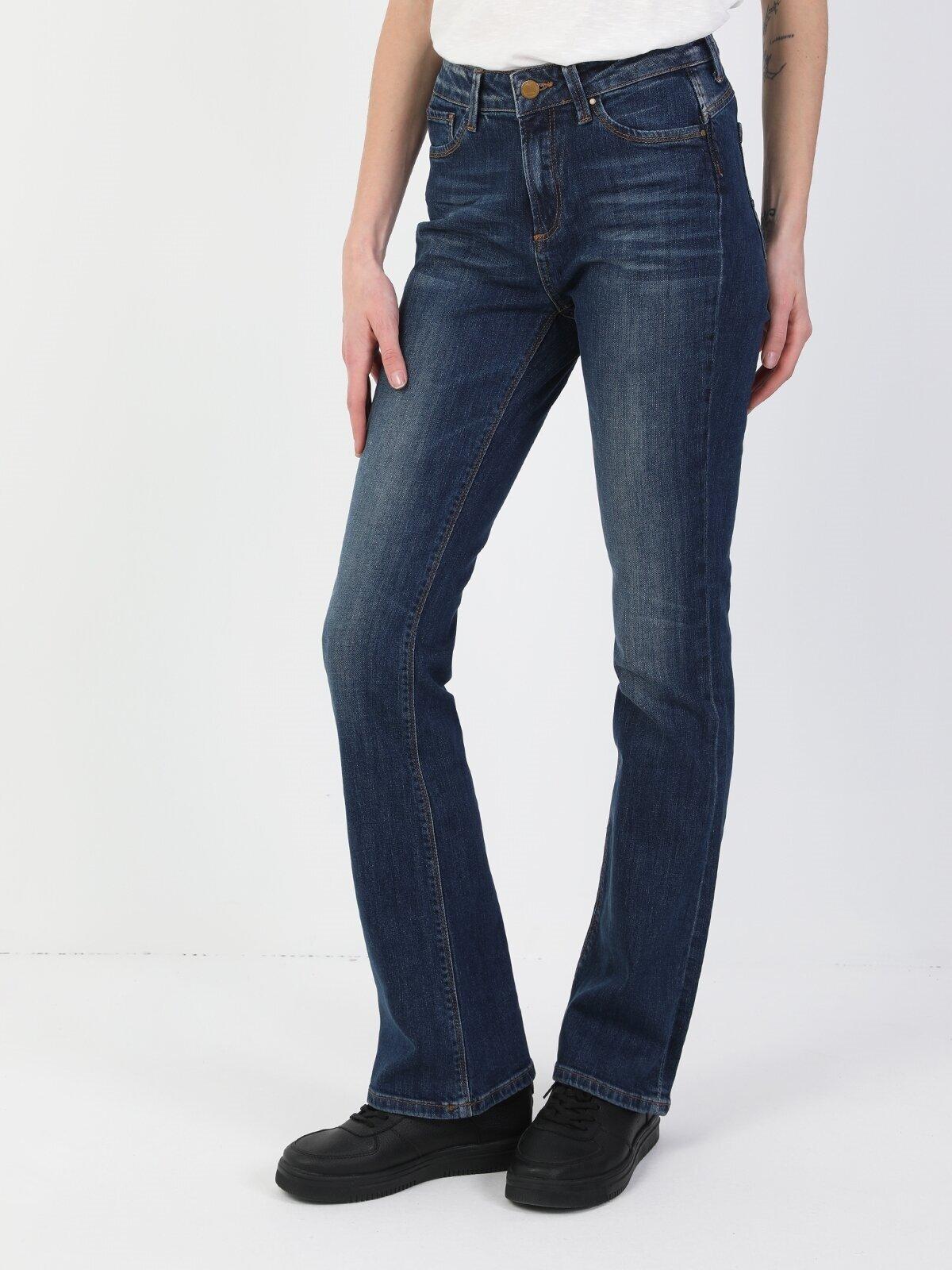 791 Monıca Orta Bel Rahat Paça Regular Fit Koyu Mavi Kadın Jean Pantolon