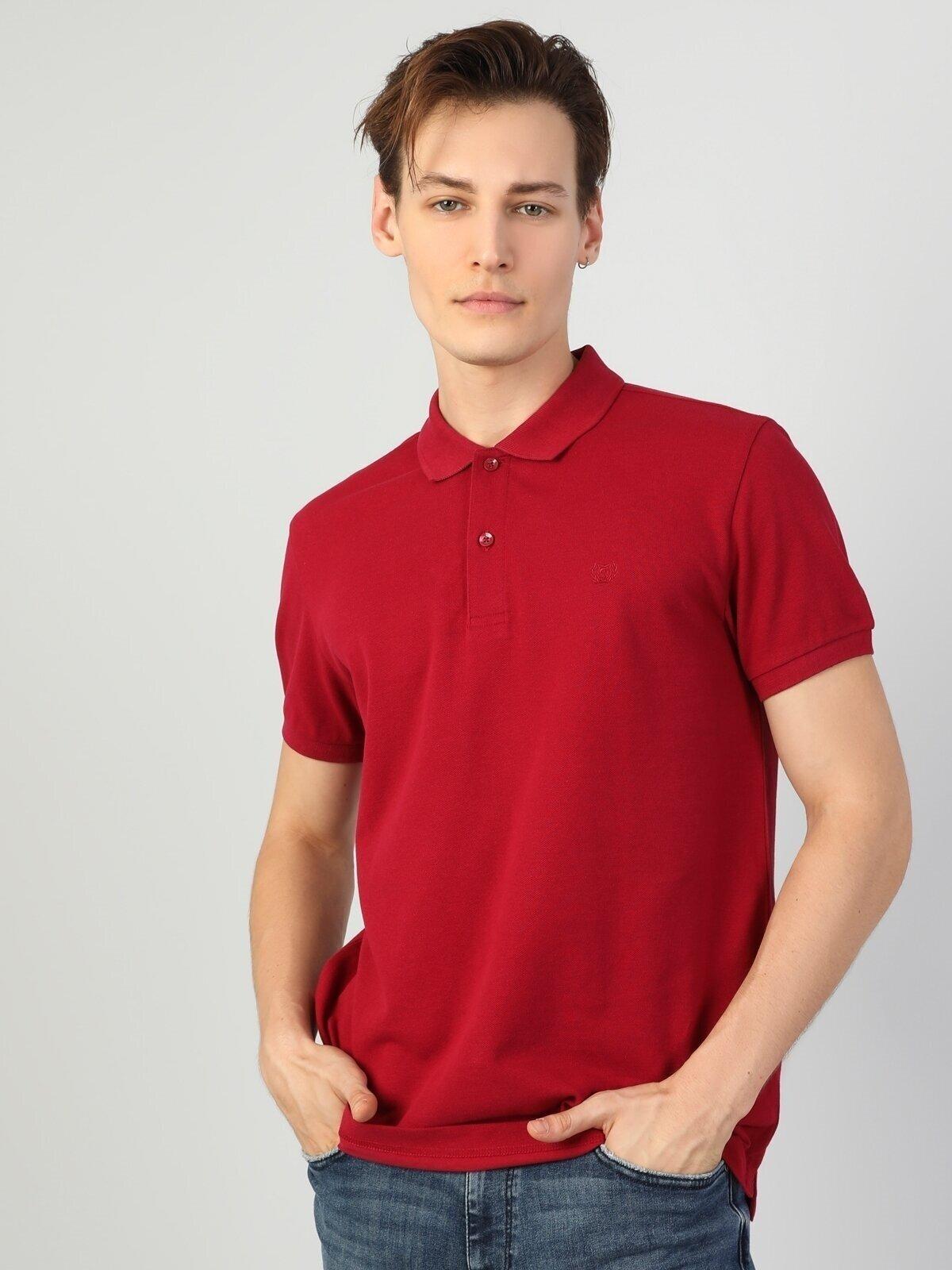 Regular Fit Polo Yaka Koyu Kırmızı Erkek Kısa Kol Tişört
