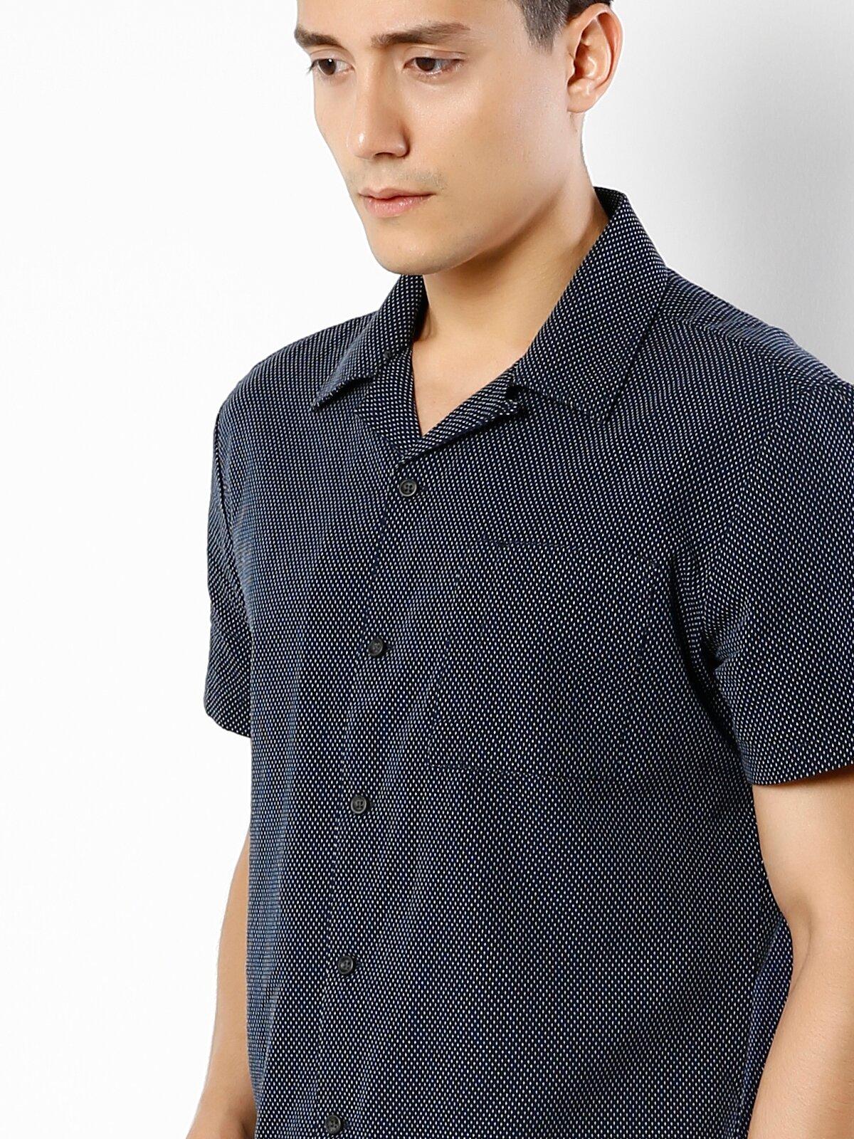 Lacivert Kısa Kol Gömlek